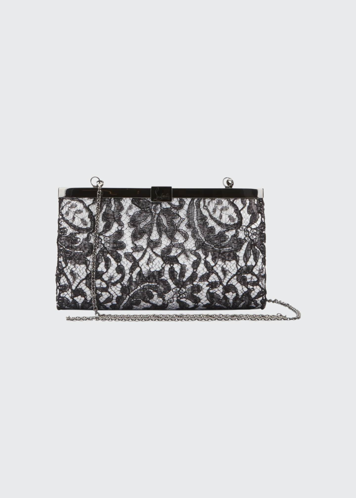 Image 1 of 1: Palmette Small Dentelle Gloss Lace Clutch Bag