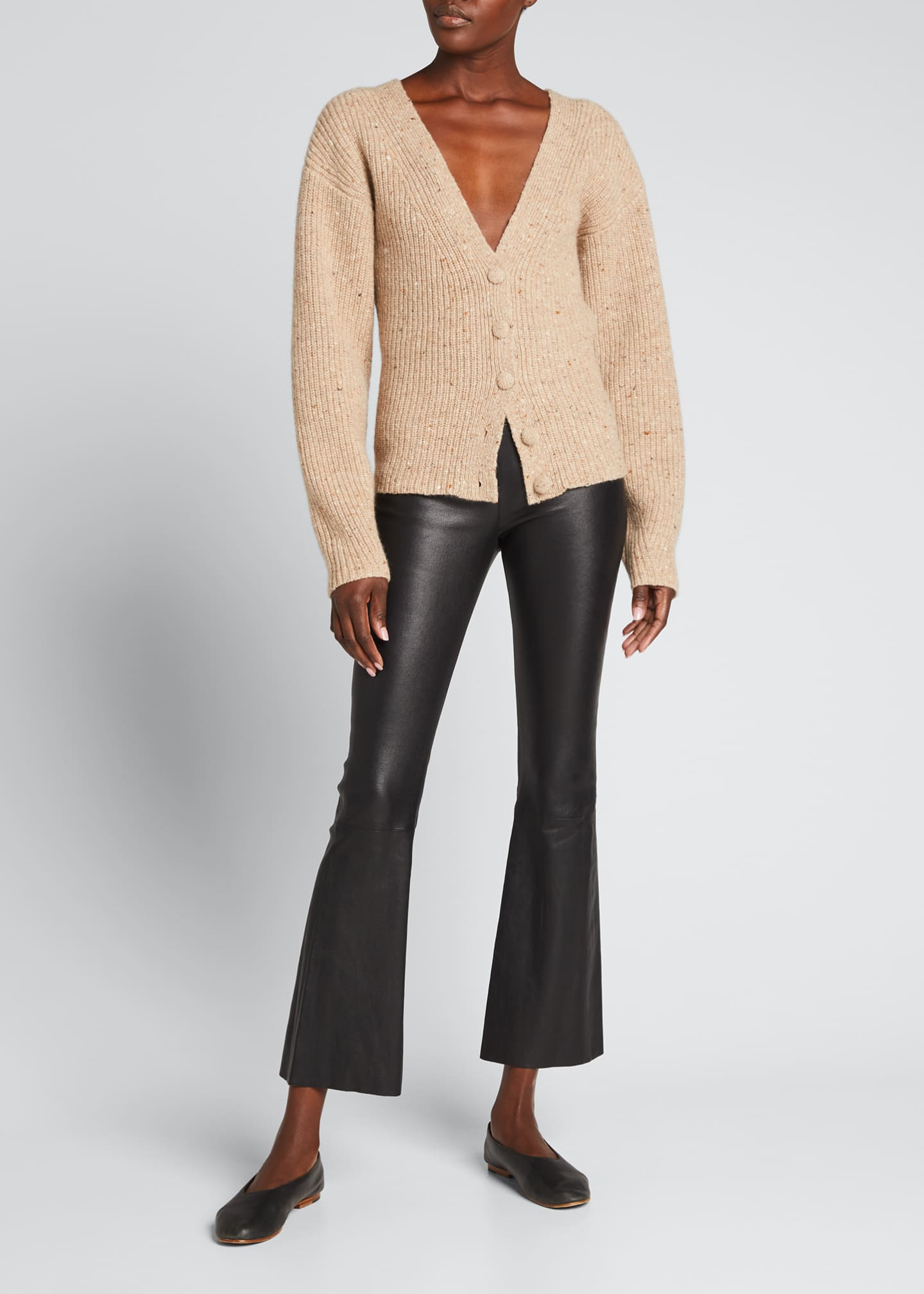 Image 1 of 3: High-Waist Flare-Leg Cropped Leather Leggings