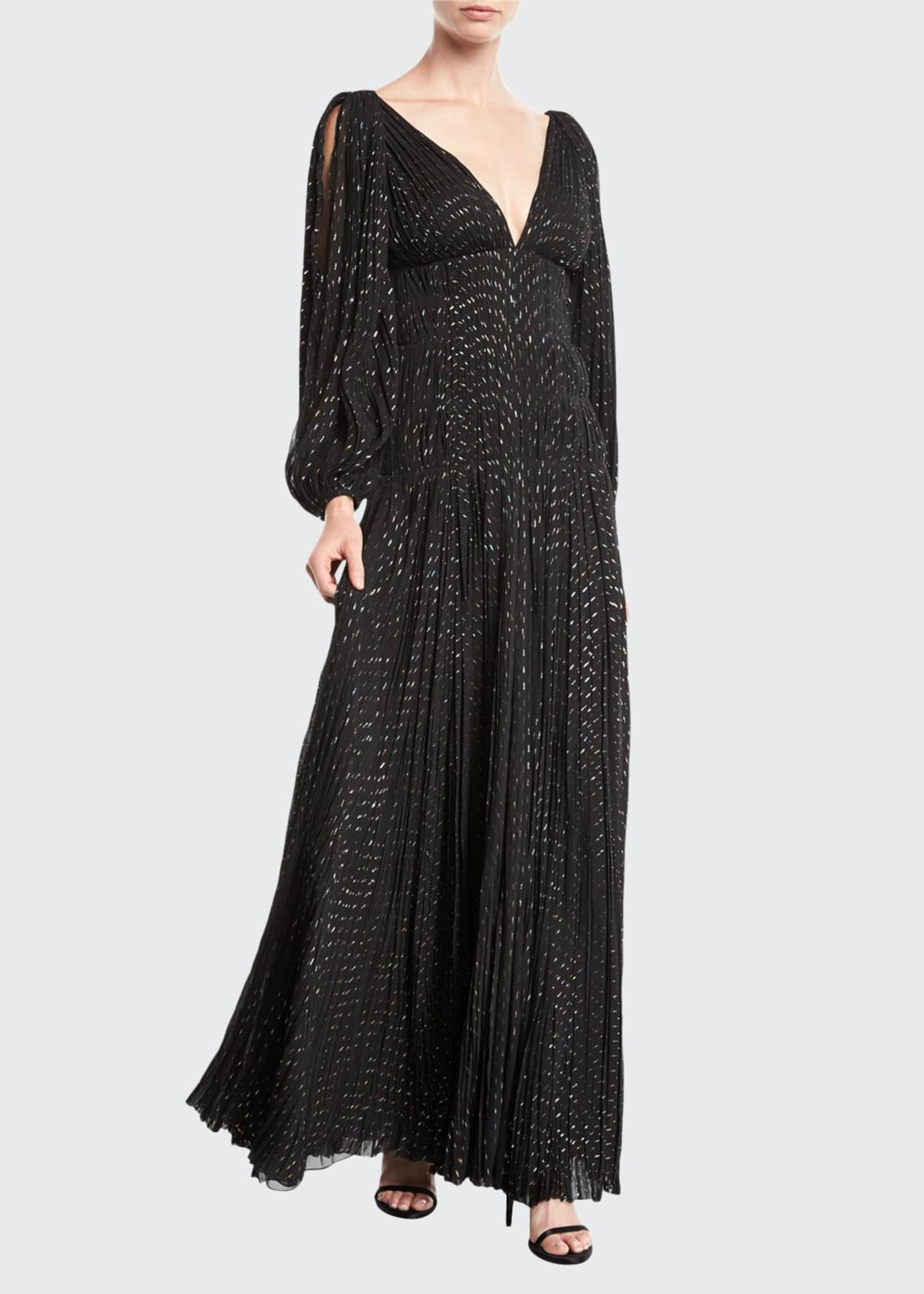Image 1 of 2: V-Neck Puff-Sleeve Fitted-Waist Metallic-Dot Evening Gown