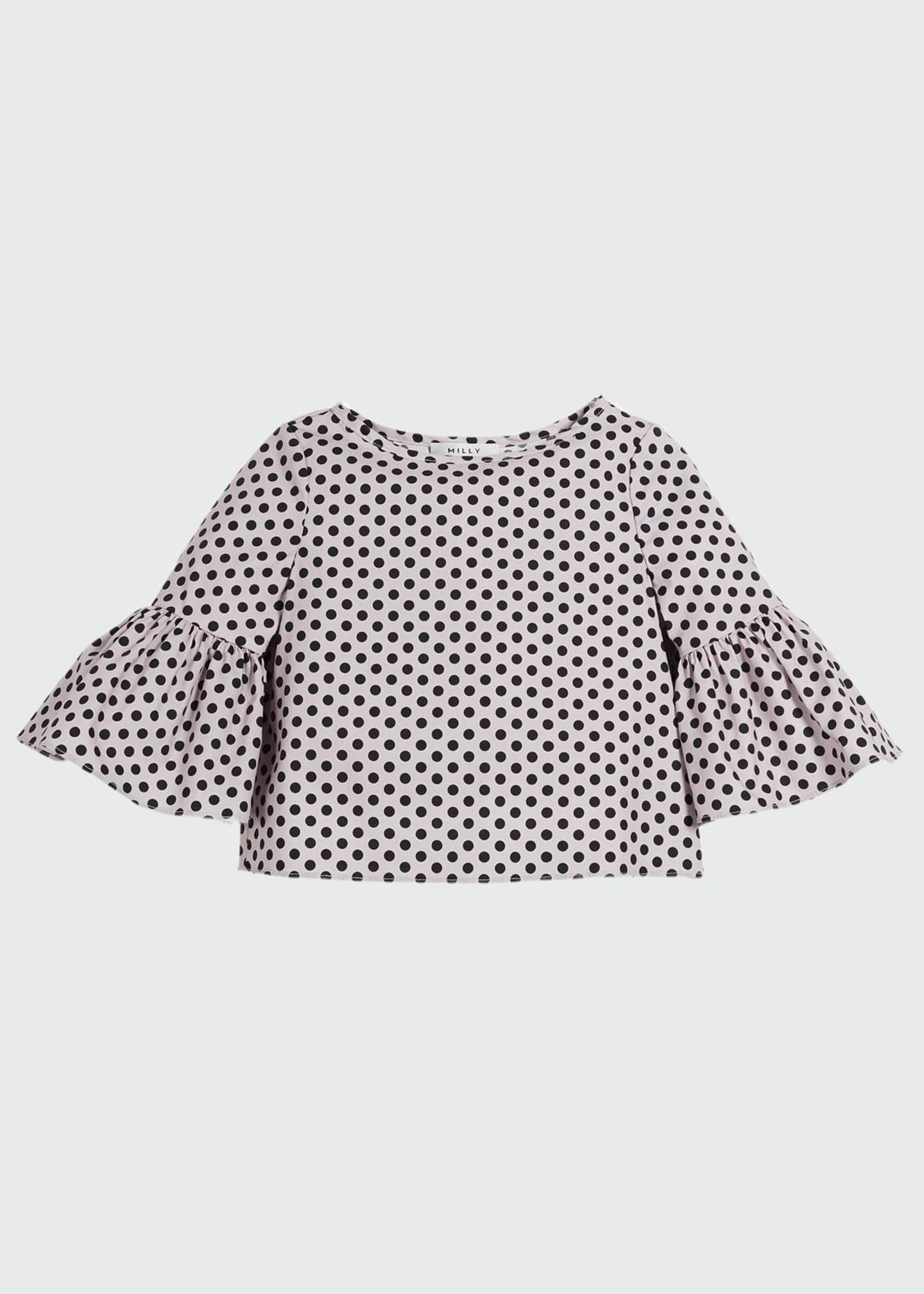 Image 1 of 1: Polka-Dot Ruffle-Sleeve Cotton Blouse, Size 4-7