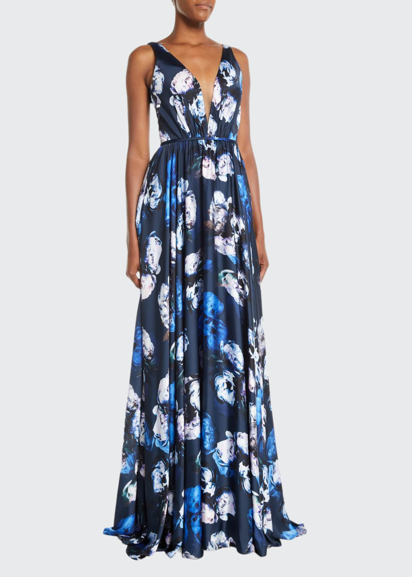 Image 1 of 2: Sleeveless Digital Floral-Print Charmeuse Gown