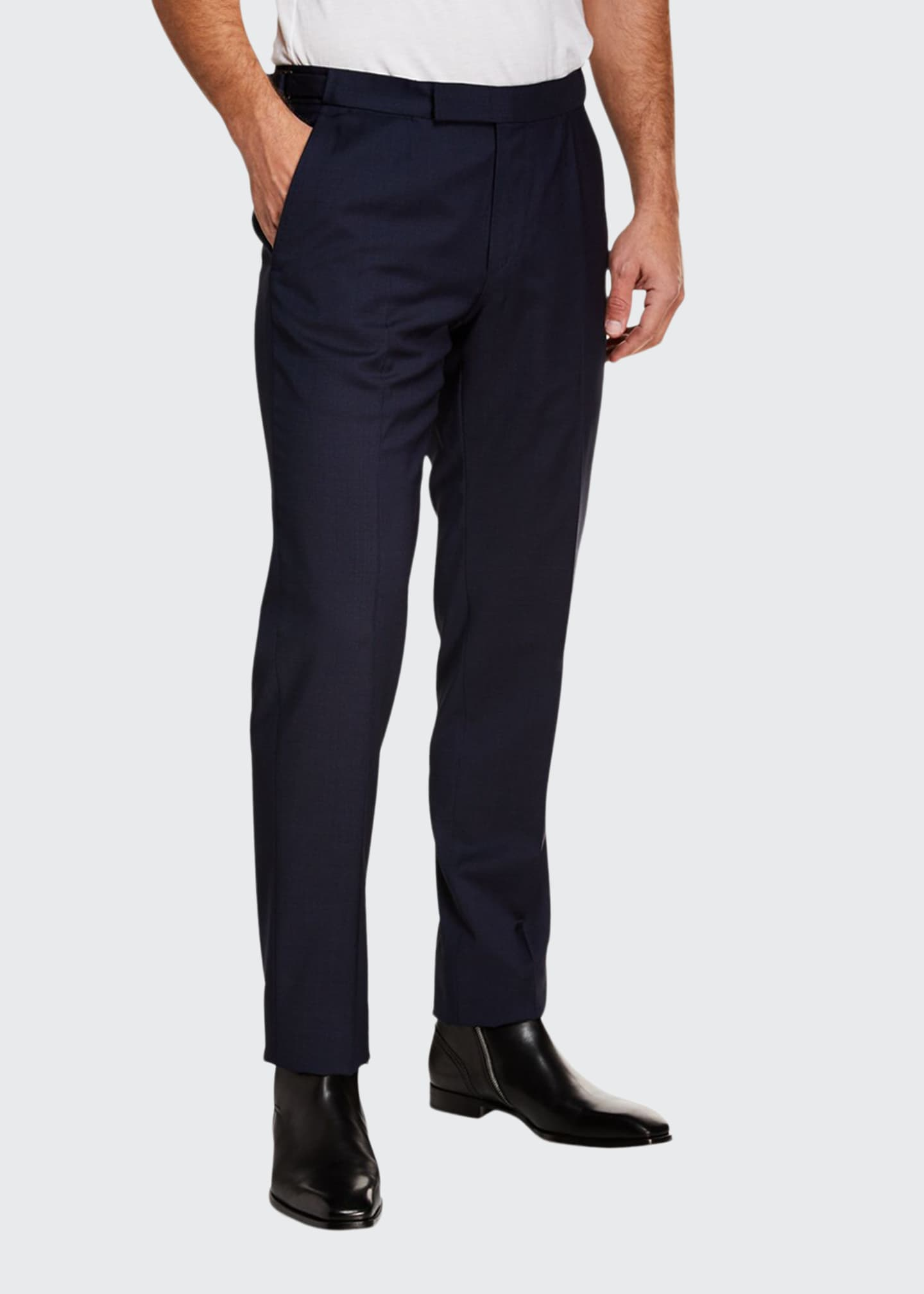 Image 1 of 3: Men's Tic Stretch-Wool Flat-Front Trousers