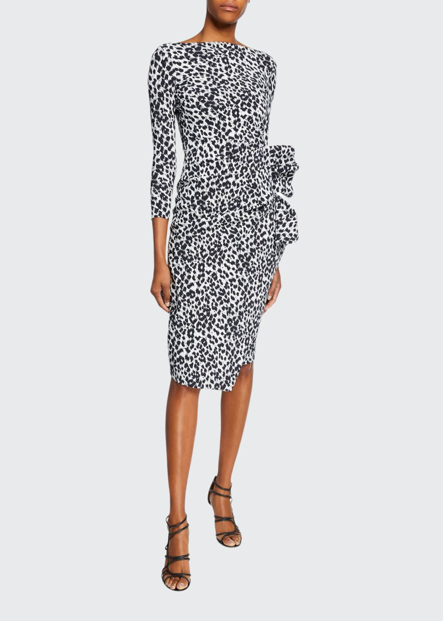 Image 1 of 2: Zelma Side-Shirred Printed Dress