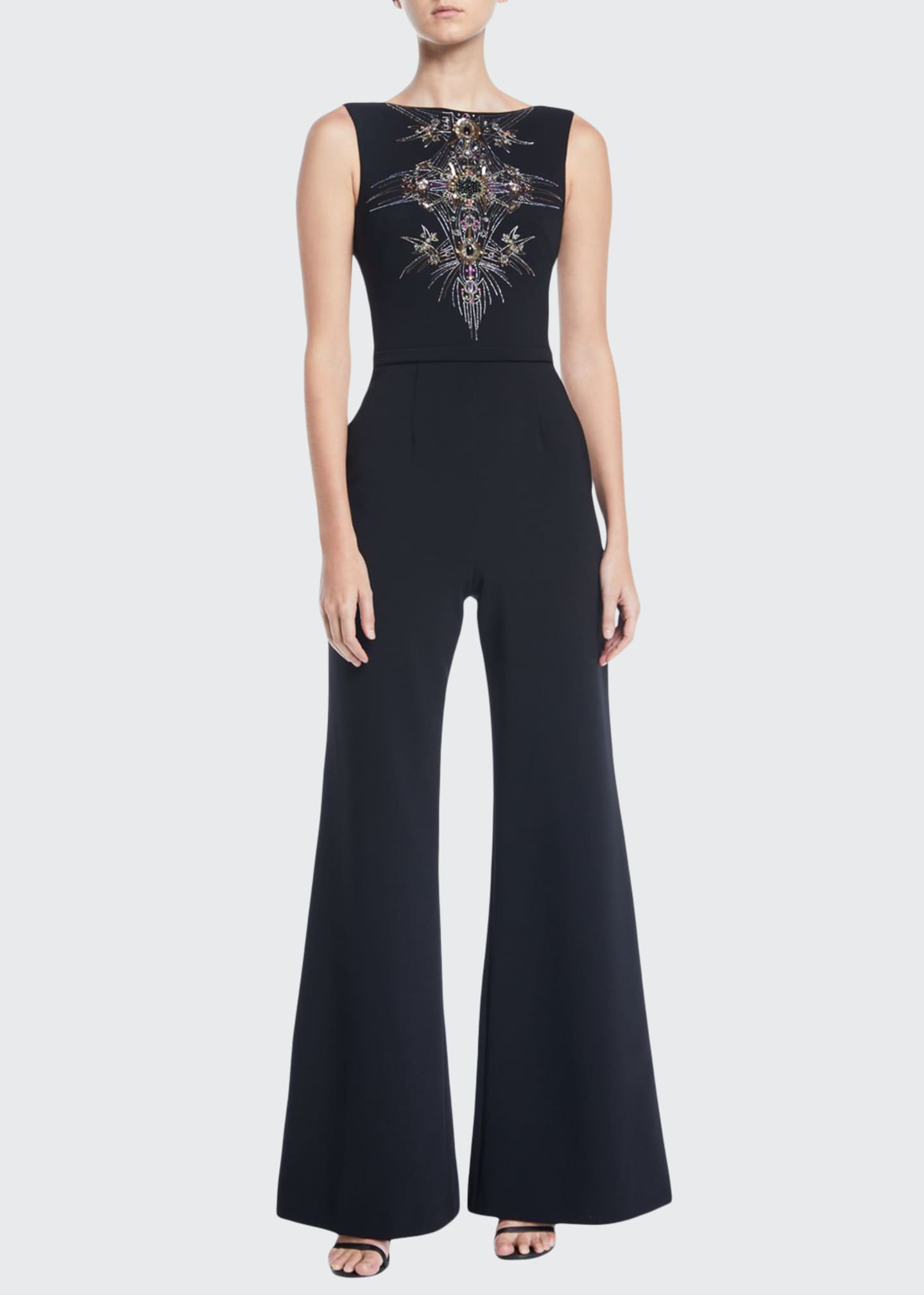 Image 1 of 2: Bateau-Neck Micro-Beaded Jumpsuit