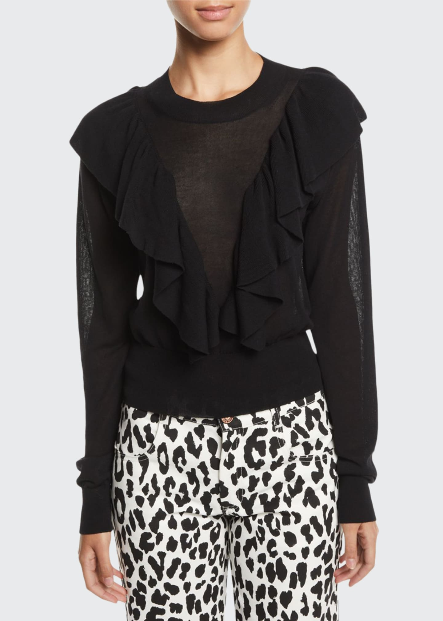 Image 1 of 2: Double-Ruffle Long-Sleeve Knit Top
