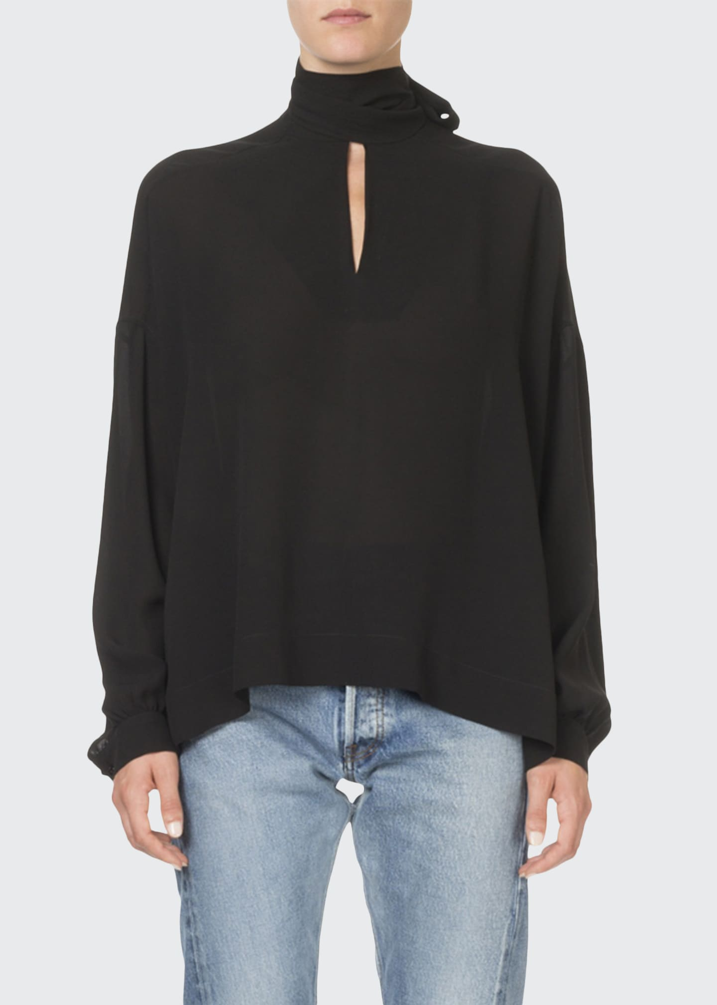 Image 1 of 2: Long-Sleeve Tie-Neck Fluid Crepe Blouse