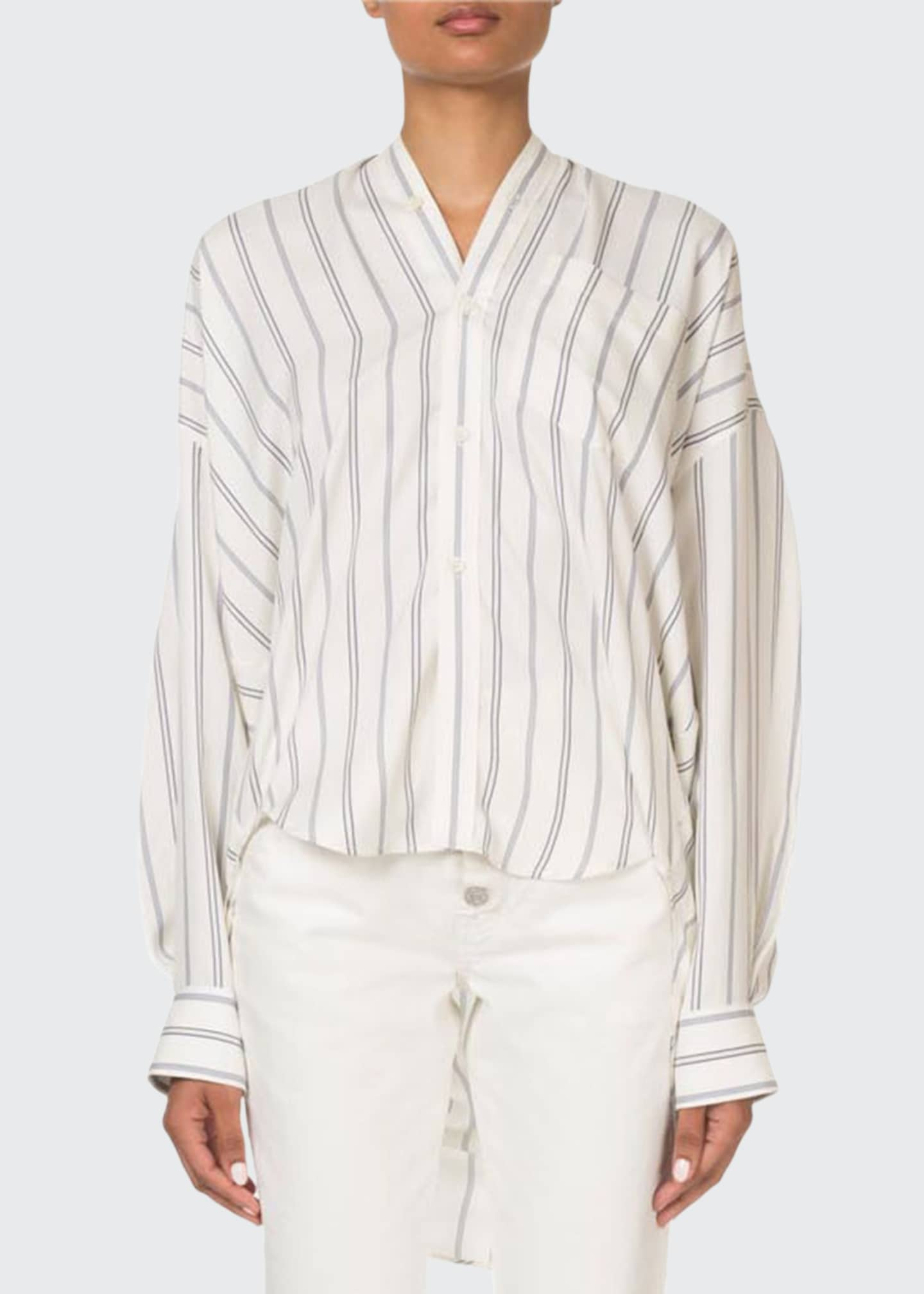 Image 1 of 2: Striped Button-Front Tie-Back Swing Top