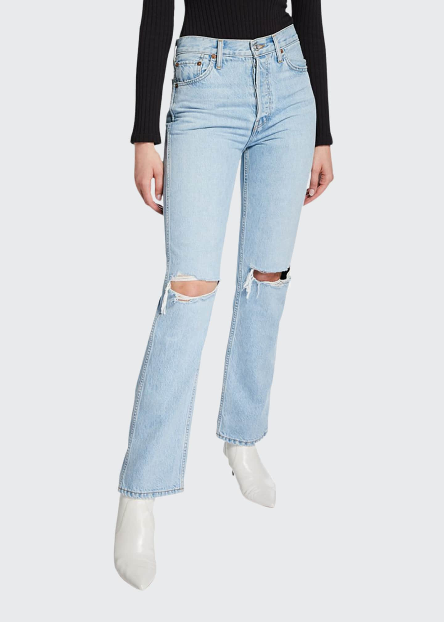 Image 1 of 2: High-Rise Distressed Rigid Straight-Leg Jeans