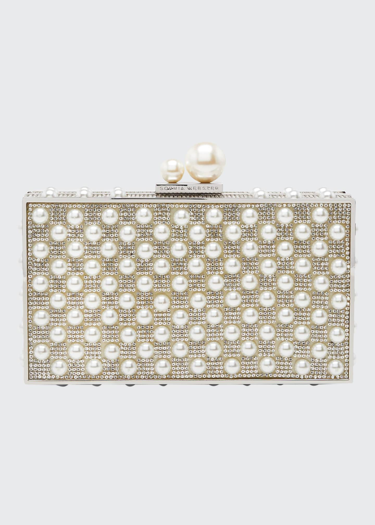 Sophia Webster Clara Crystal Pearly Box Clutch Bag