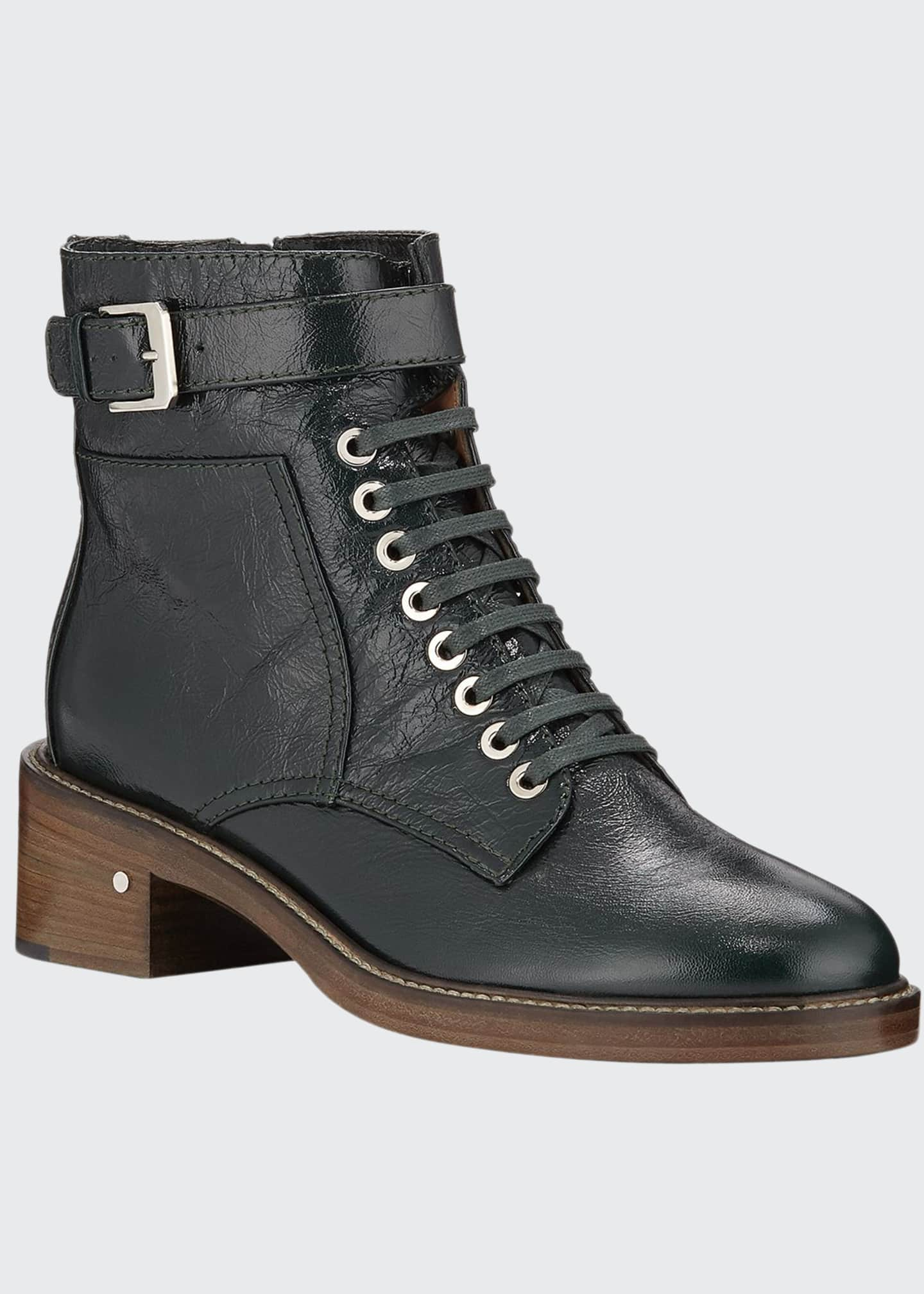 Image 1 of 3: Solene Leather Combat Boots