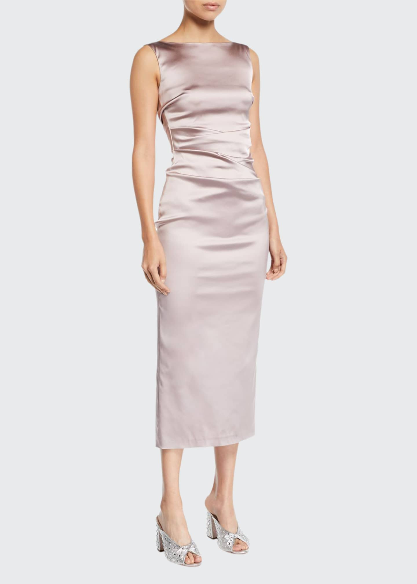 Image 1 of 2: Sleeveless Boat-Neck Ruched Satin Body-con Midi Cocktail Dress