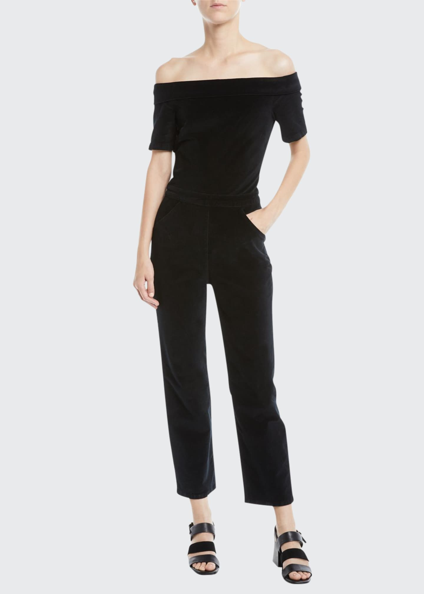 Image 1 of 2: Off-Shoulder Velvet Straight-Leg Romper