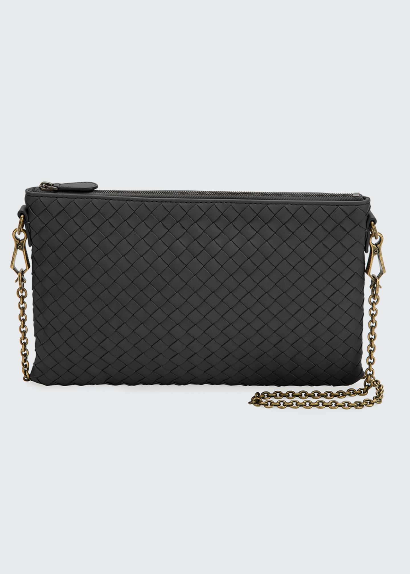 Bottega Veneta Biletto Woven Leather Zip-Top Pouch Crossbody