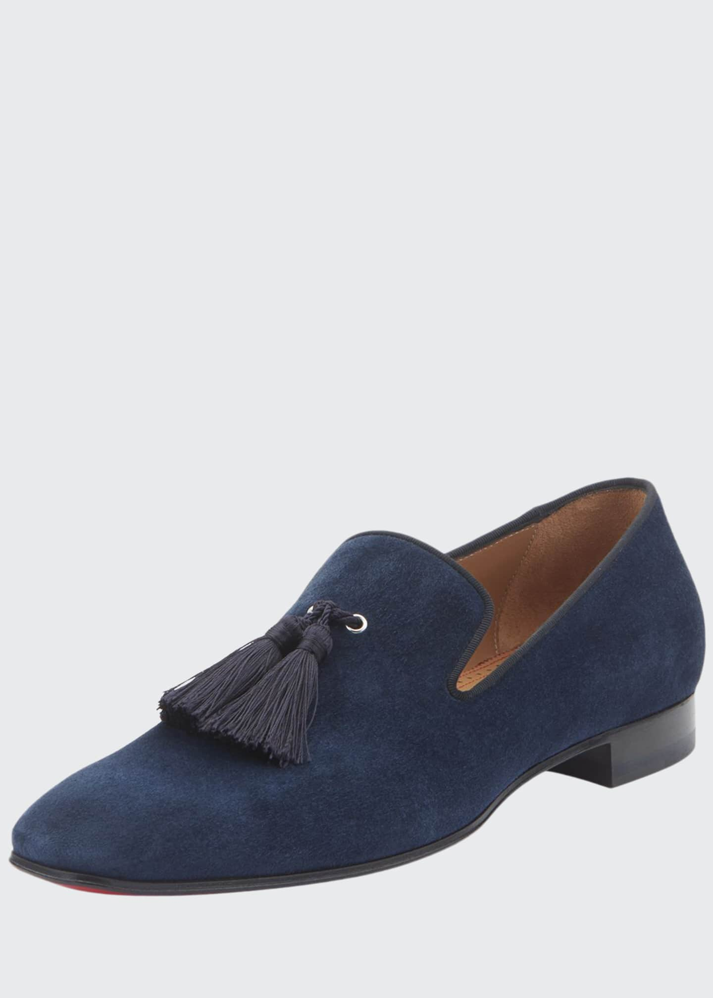 Image 1 of 3: Men's Velour Suede Tassel Loafers