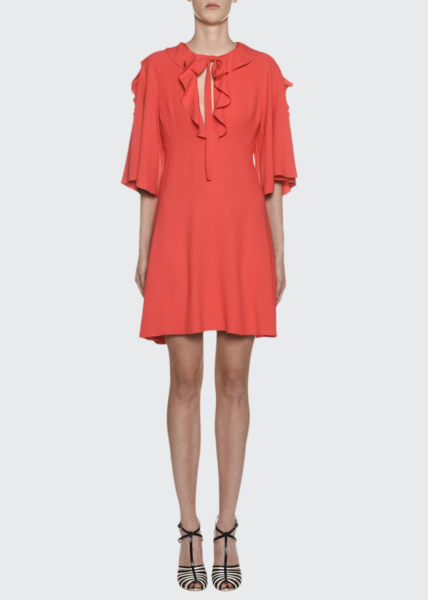 Giambattista Valli Crepe Flutter-Sleeve Ruffled Neck Dress