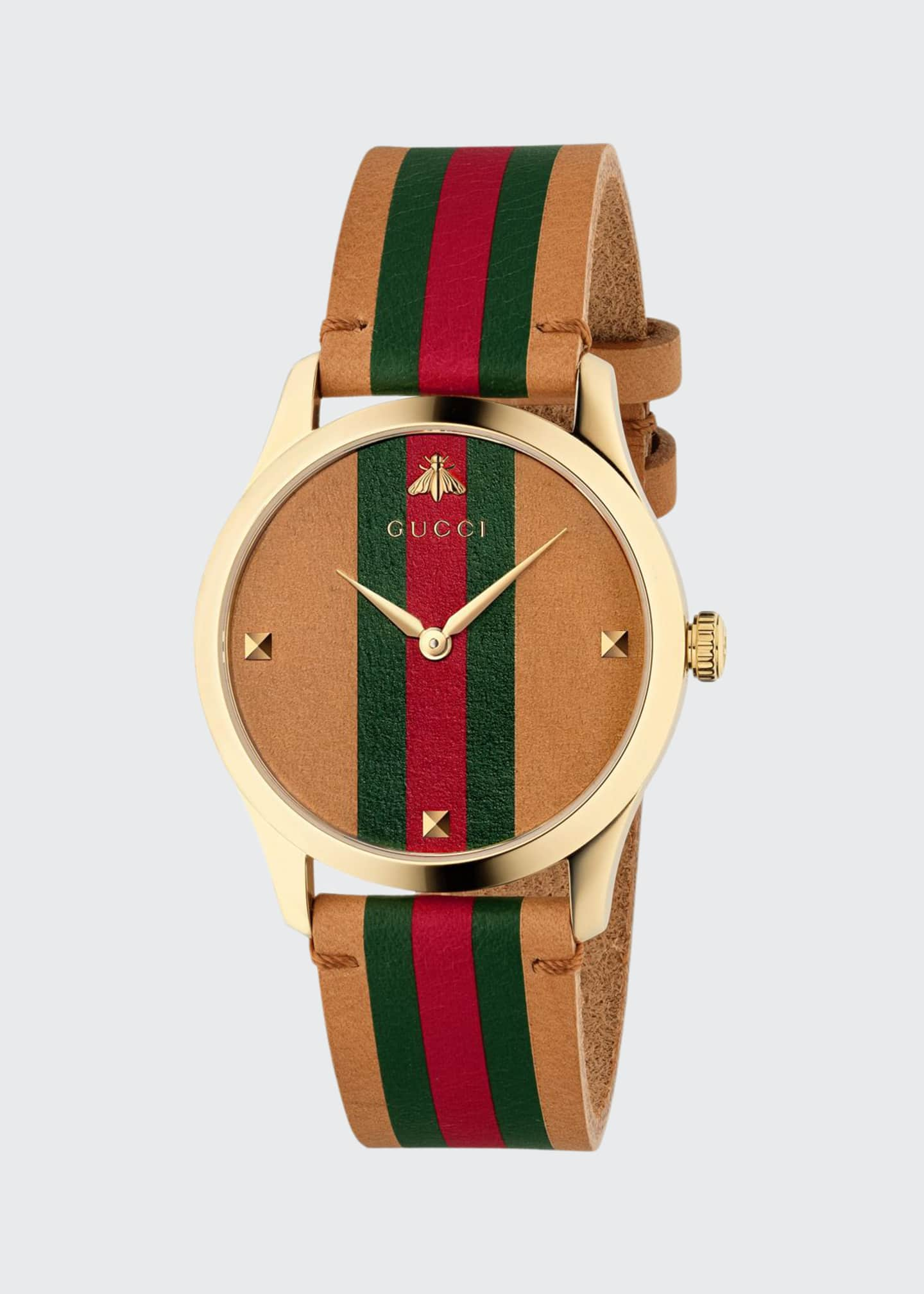 Image 1 of 4: Men's Tricolor Leather Web Watch