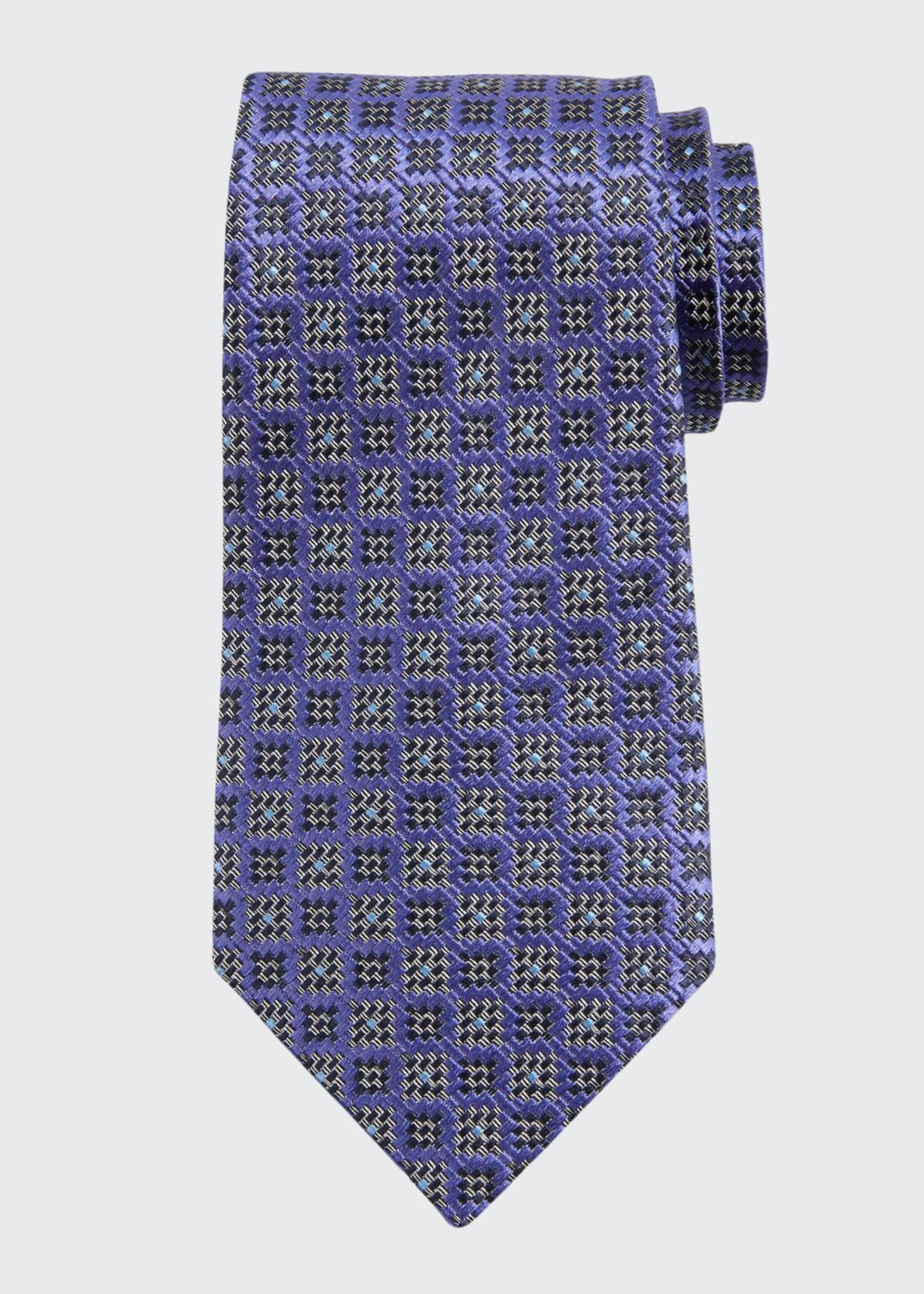 Image 1 of 1: Jacquard Boxes Silk Tie, Purple