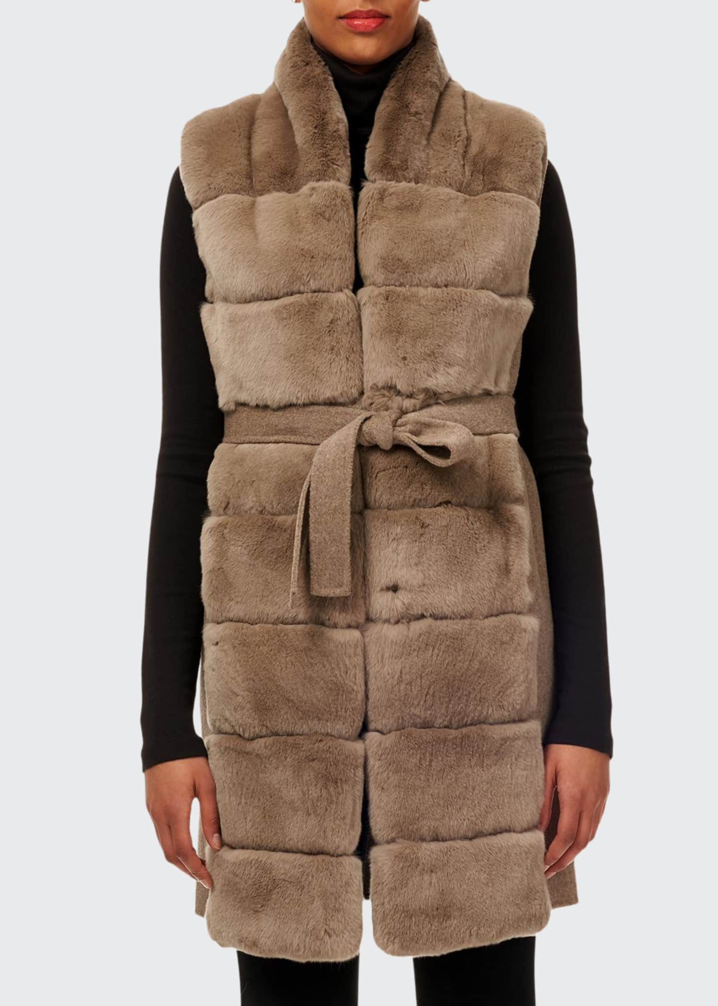 Image 1 of 4: Belted Reversible Rabbit Fur Vest w/ Wool Back