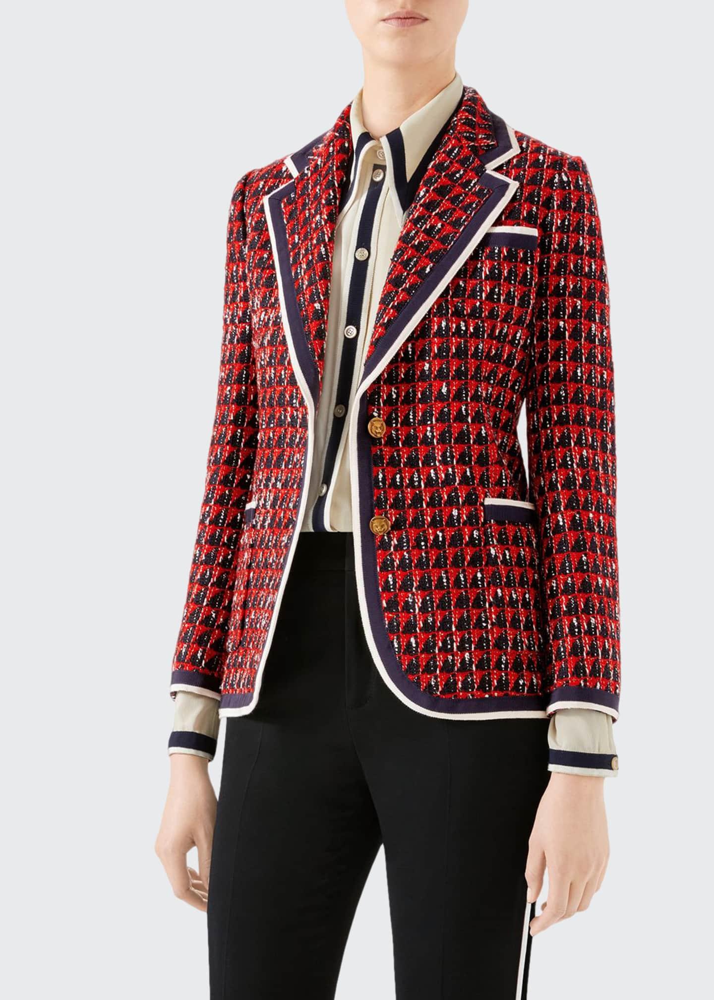 Gucci Geometric Tweed Blazer Jacket