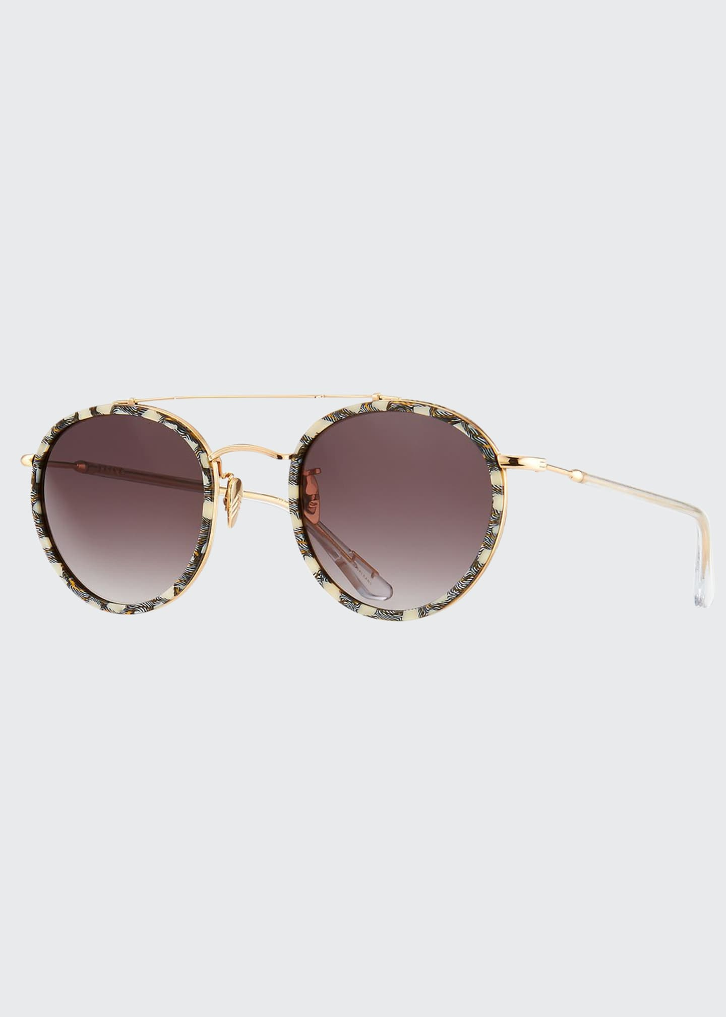 Image 1 of 3: Poydras Round Acetate & Metal Sunglasses