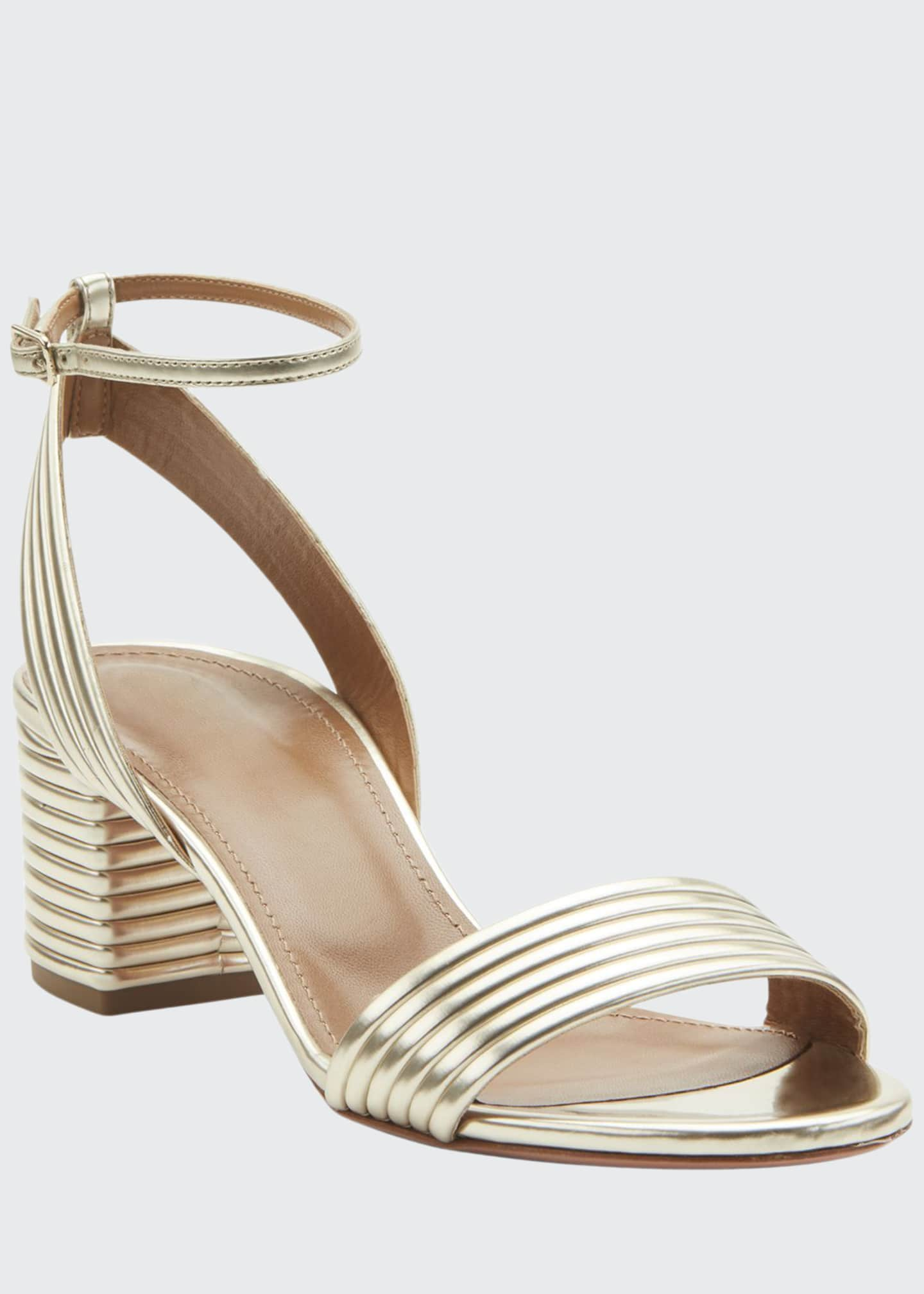 Aquazzura Sundance 50mm Metallic Leather Block-Heel Sandals