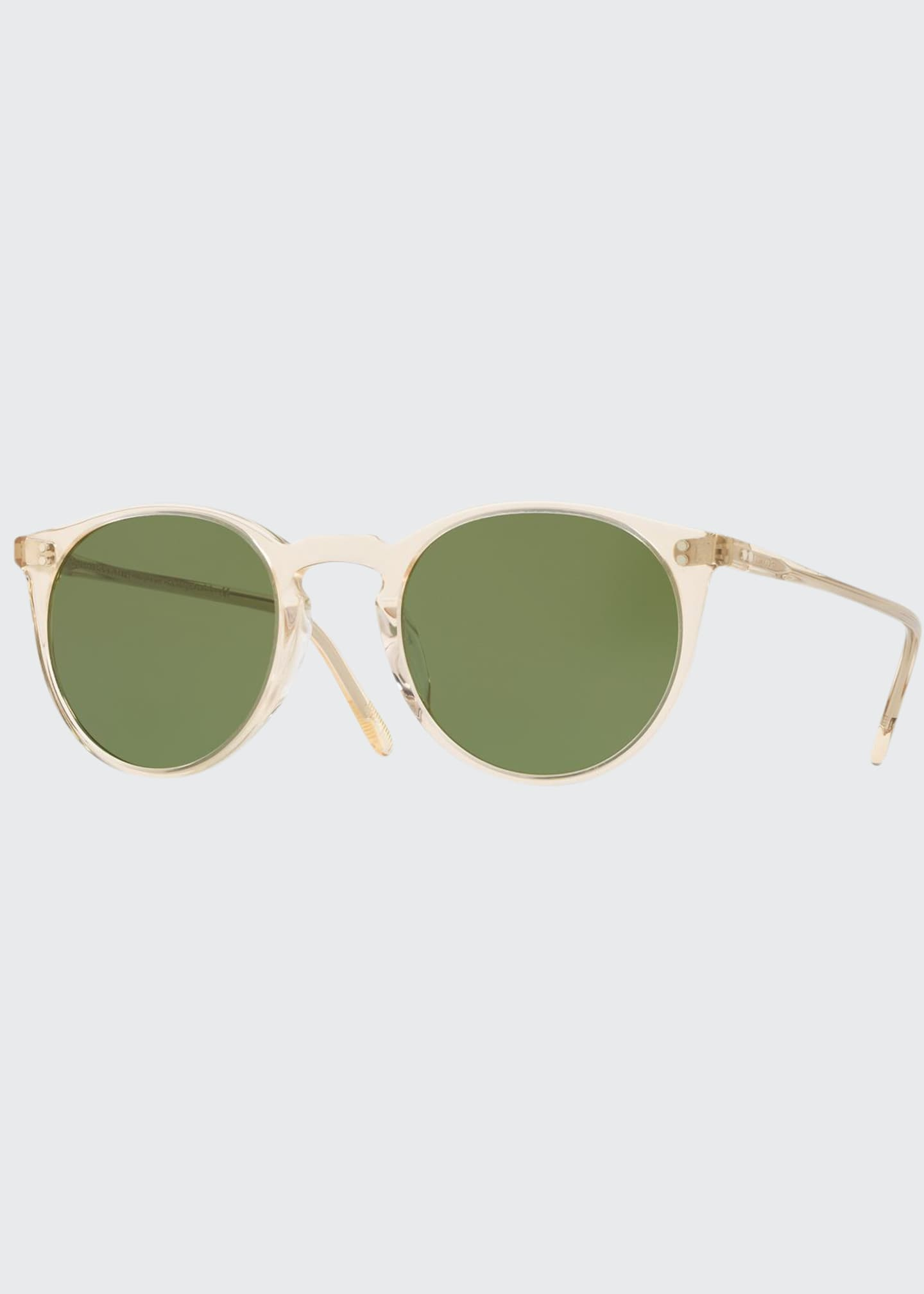 Image 1 of 2: Men's O'Malley Peaked Round Sunglasses with Mineral Glass Lenses - Buff Green
