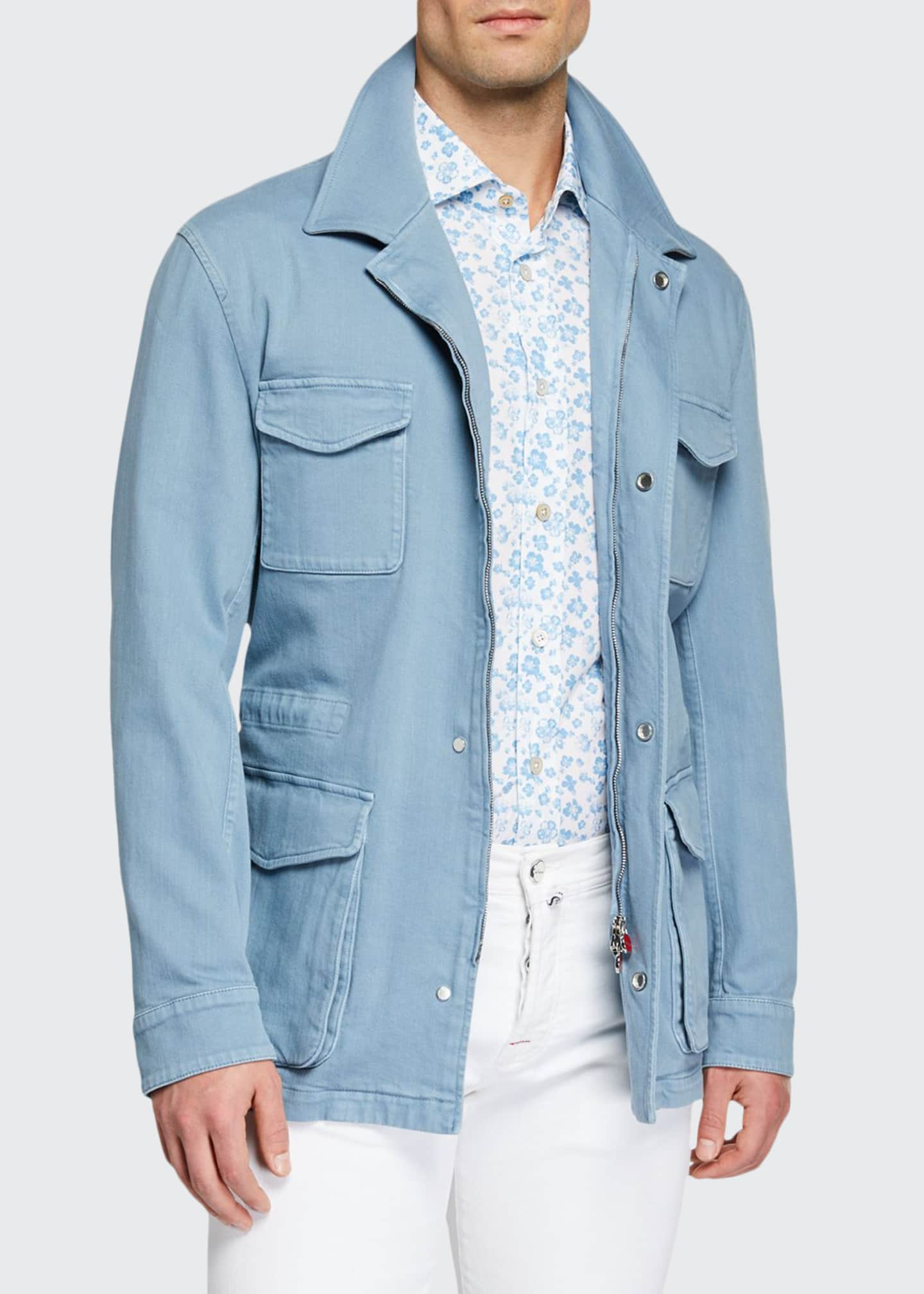 Image 1 of 3: Men's Light Wash Denim Safari Jacket