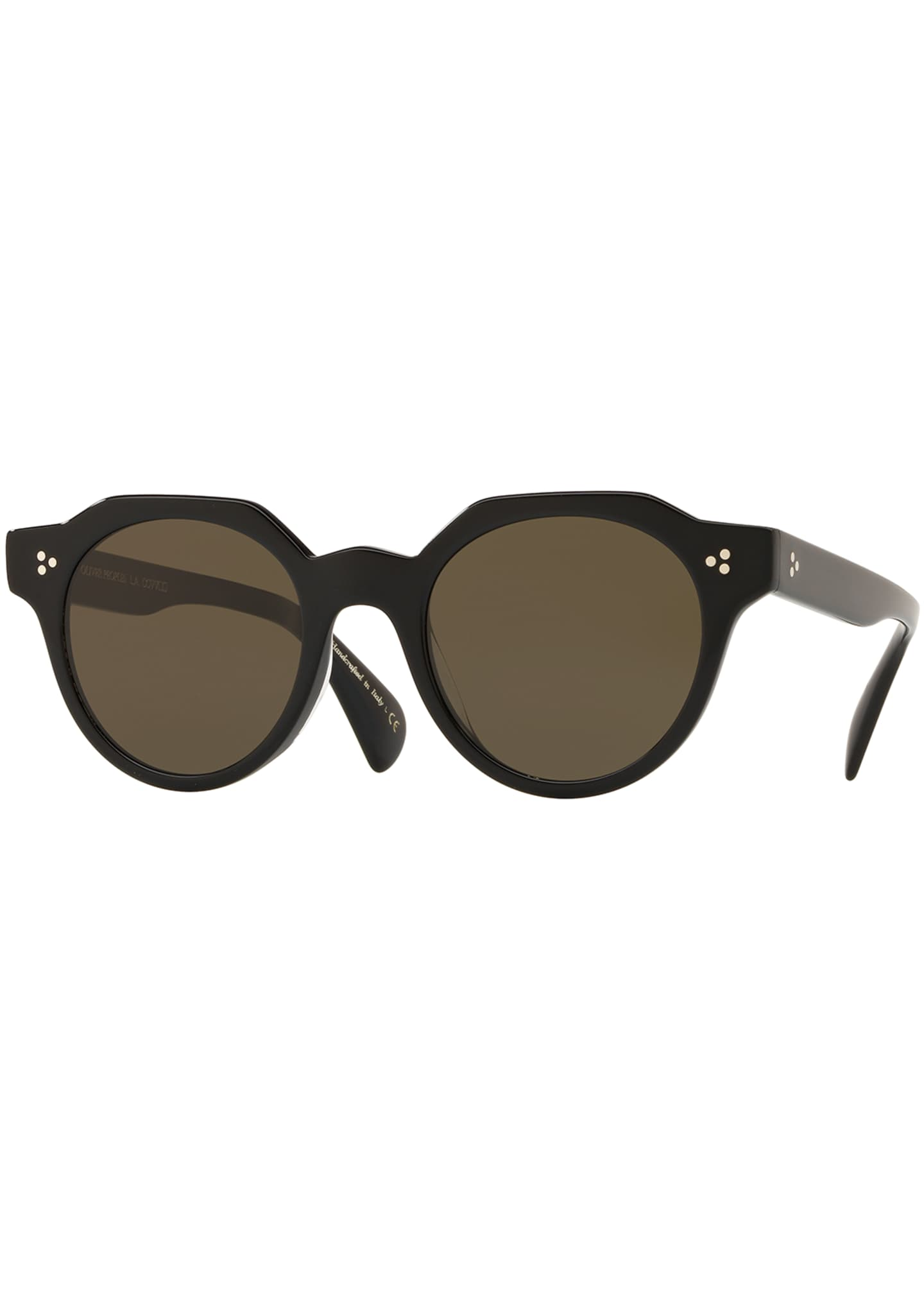 Image 1 of 2: Irven Faceted Round Acetate Sunglasses