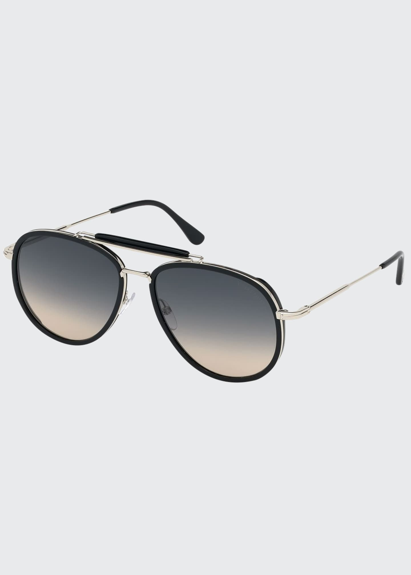 Image 1 of 1: Men's Tripp Havana Aviator Sunglasses, Black/Gray