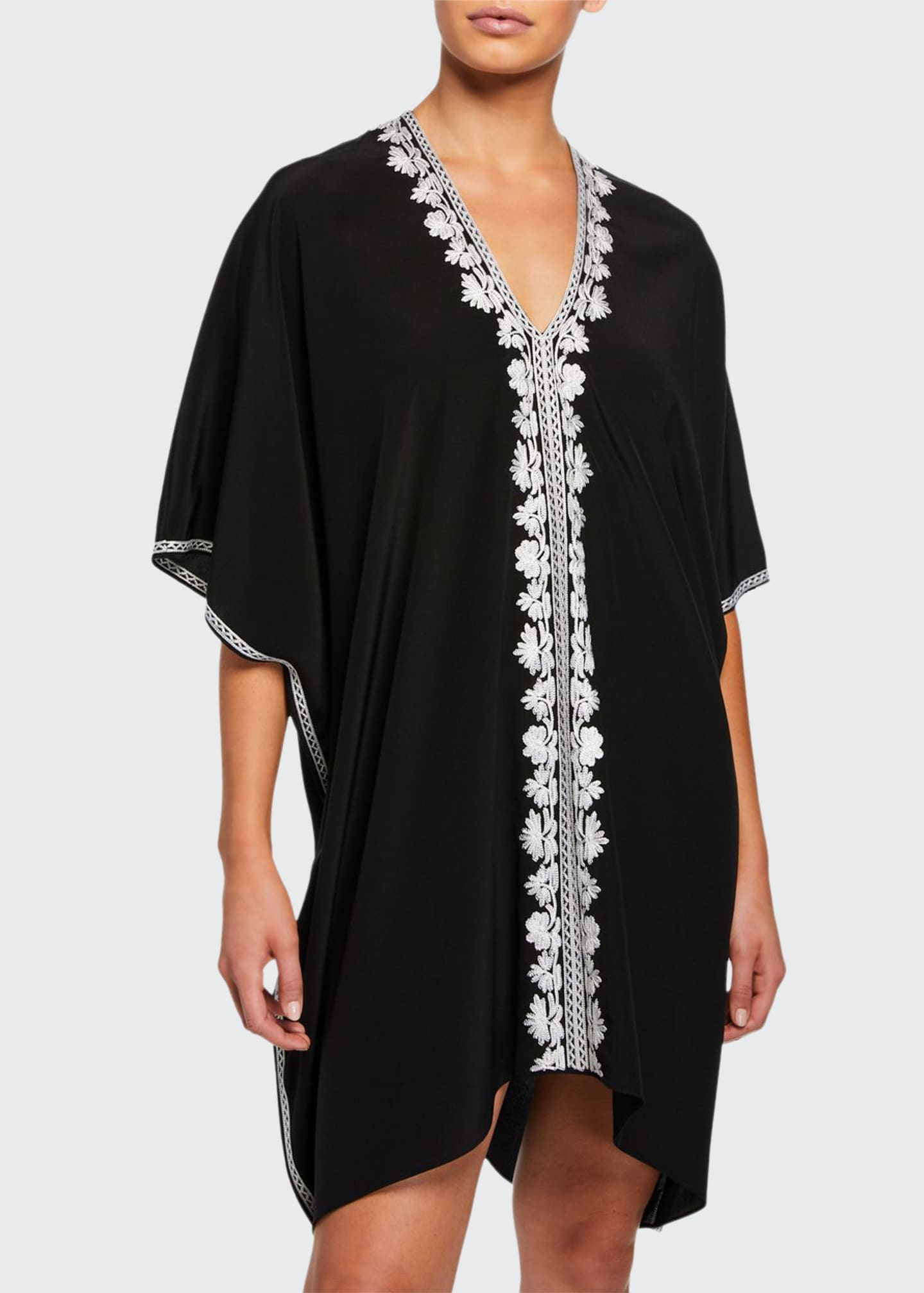 Marie France Van Damme Short Embroidered Boubou-Coverup Dress