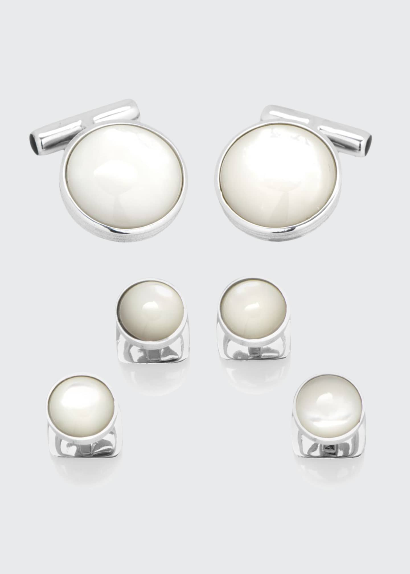 Image 1 of 4: Mother-of-Pearl Sterling Silver Cuff Links & Stud Set