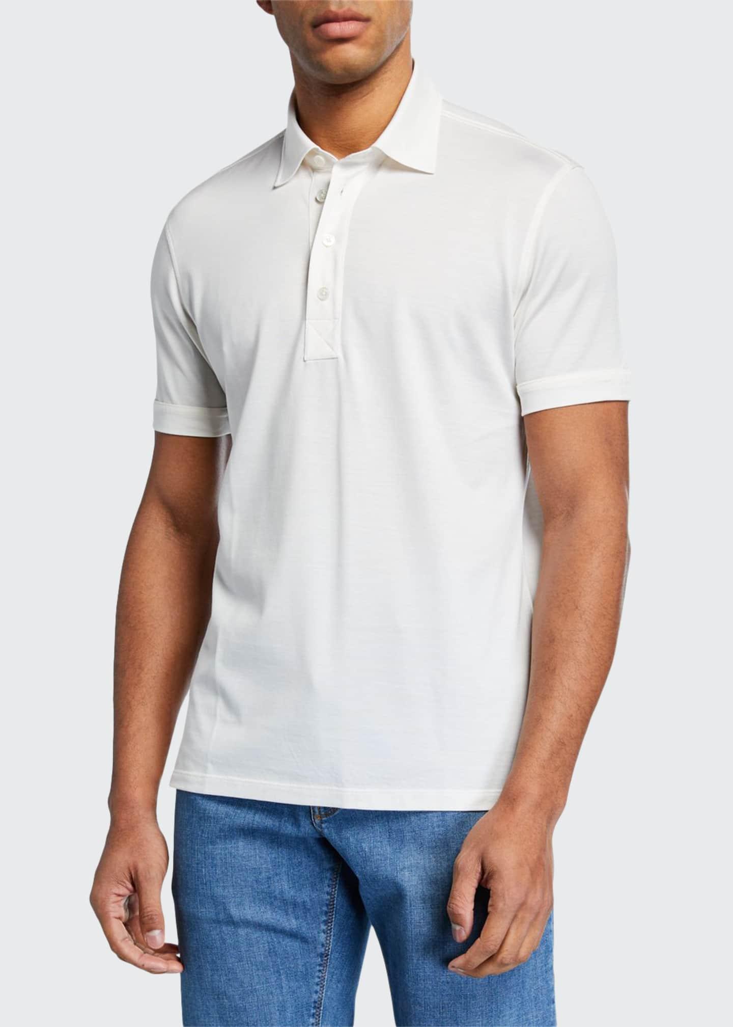 Ermenegildo Zegna Men's Leggerissimo Cotton Polo Shirt, White