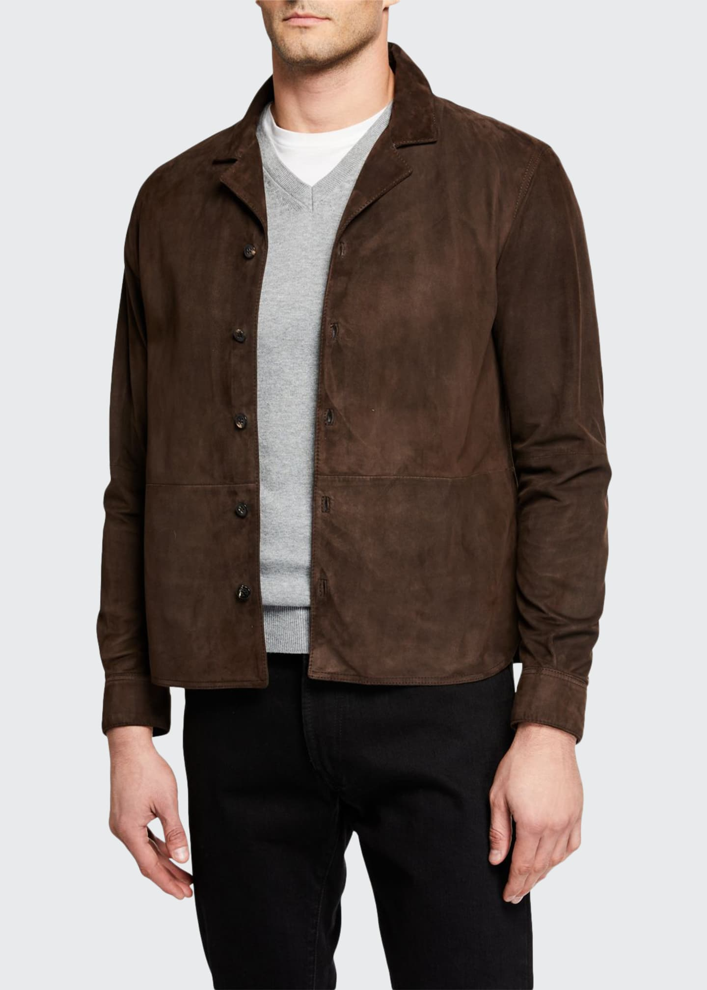 Image 1 of 3: Men's Suede Bowling Overshirt
