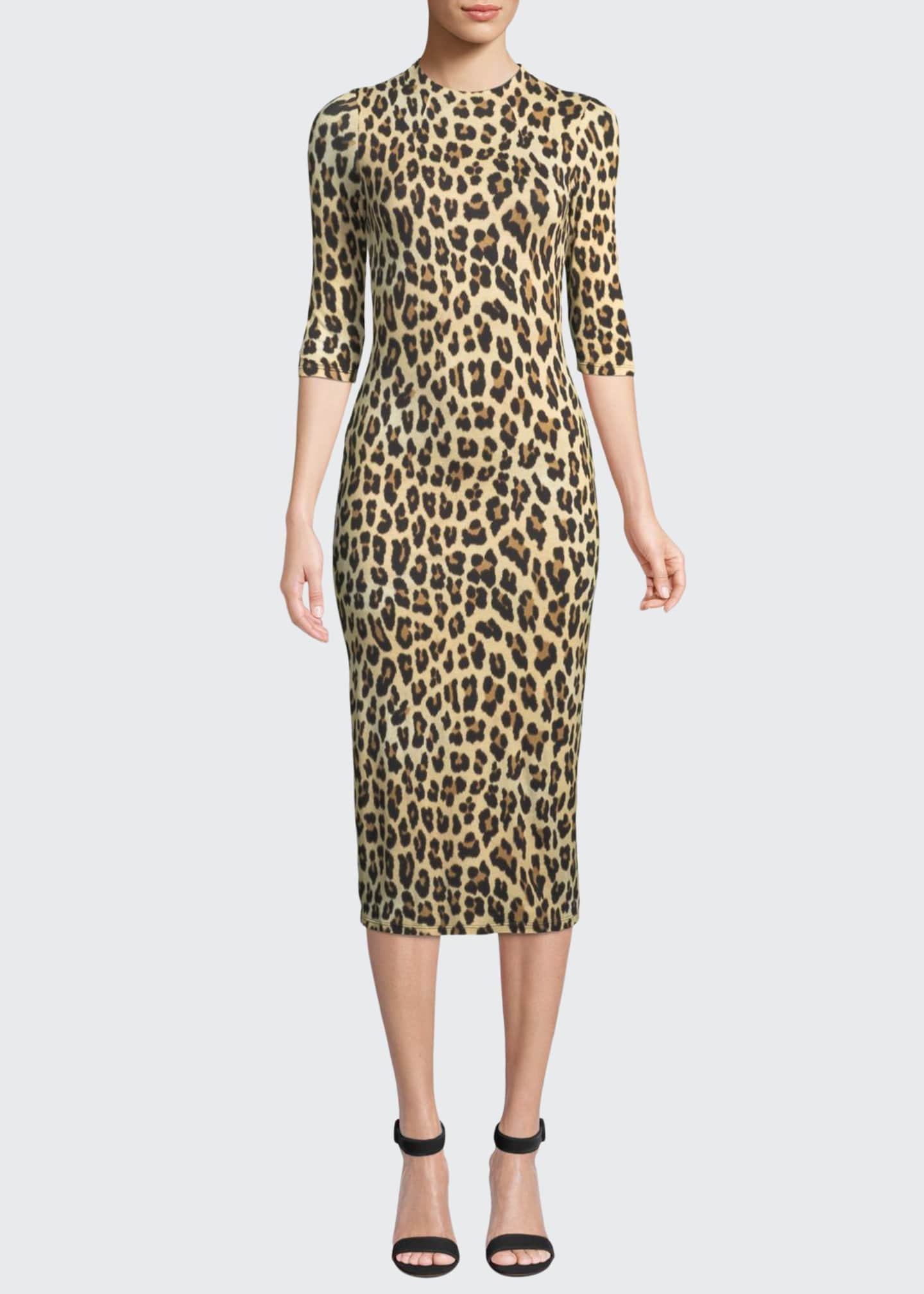 Image 1 of 3: Delora Fitted Leopard Mock-Neck Dress