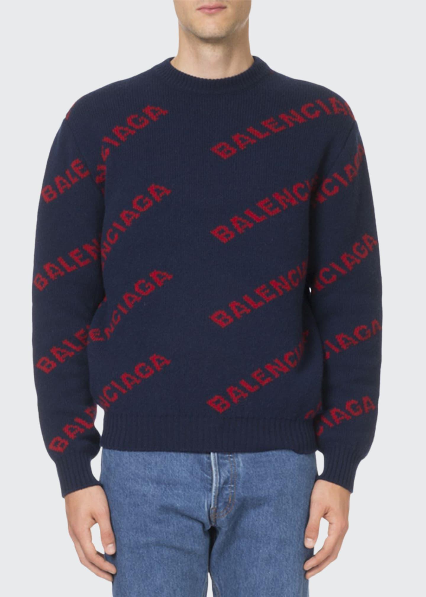 Balenciaga Men's Wool-Blend Logo Intarsia Sweater