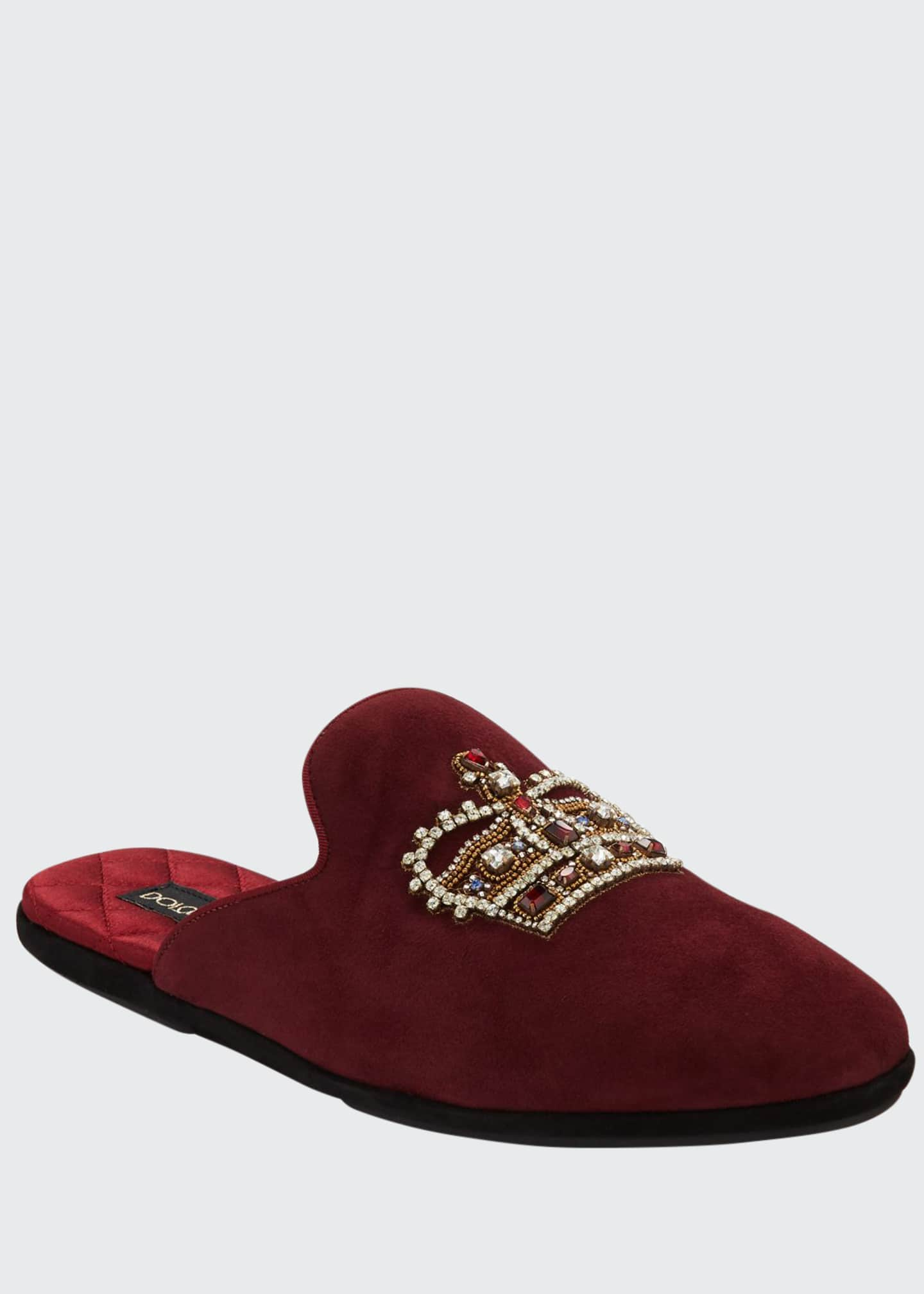 Image 1 of 3: Men's Da Camera Embellished Suede Slippers