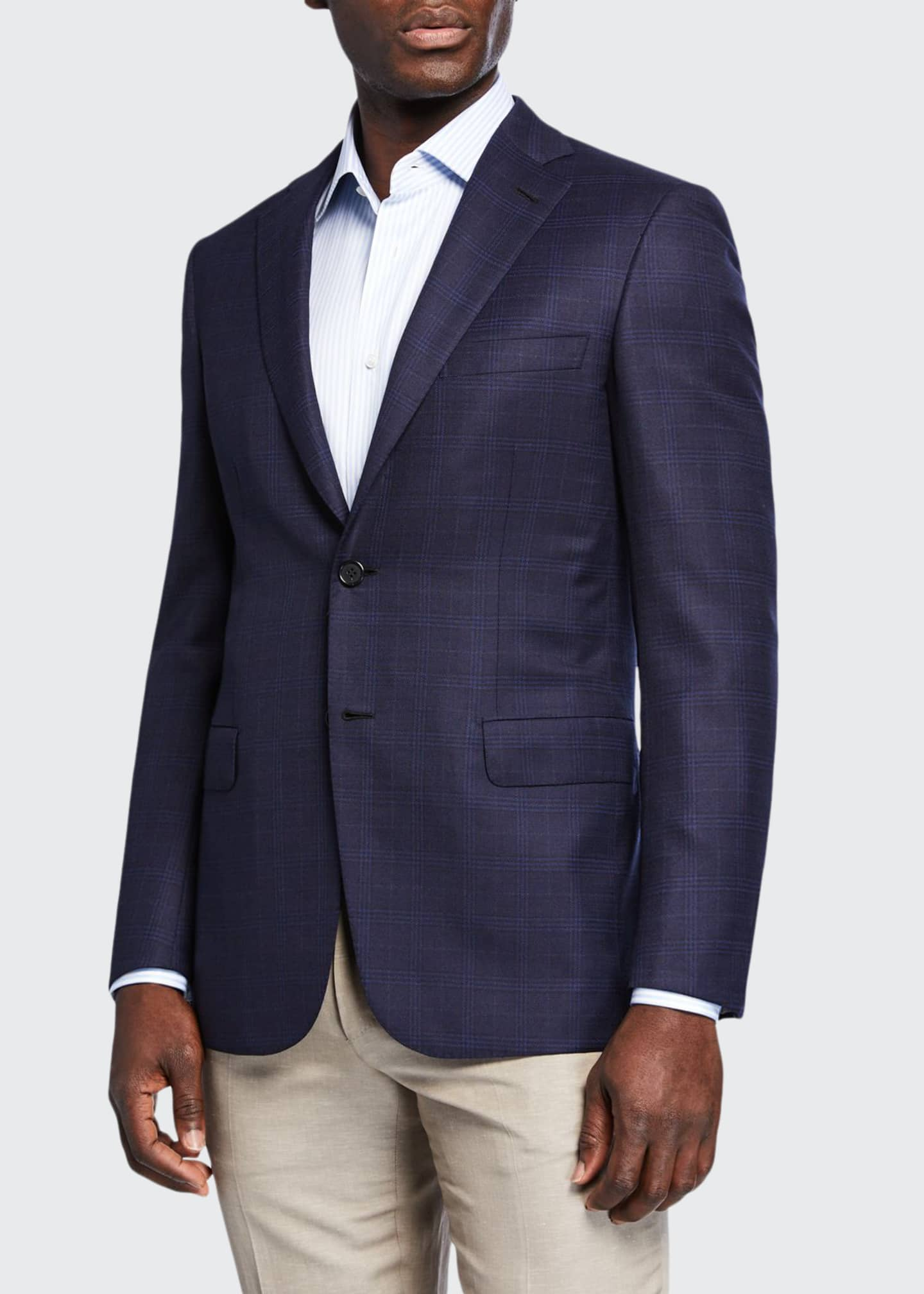 Image 1 of 3: Men's Plaid Wool-Silk Two-Button Jacket