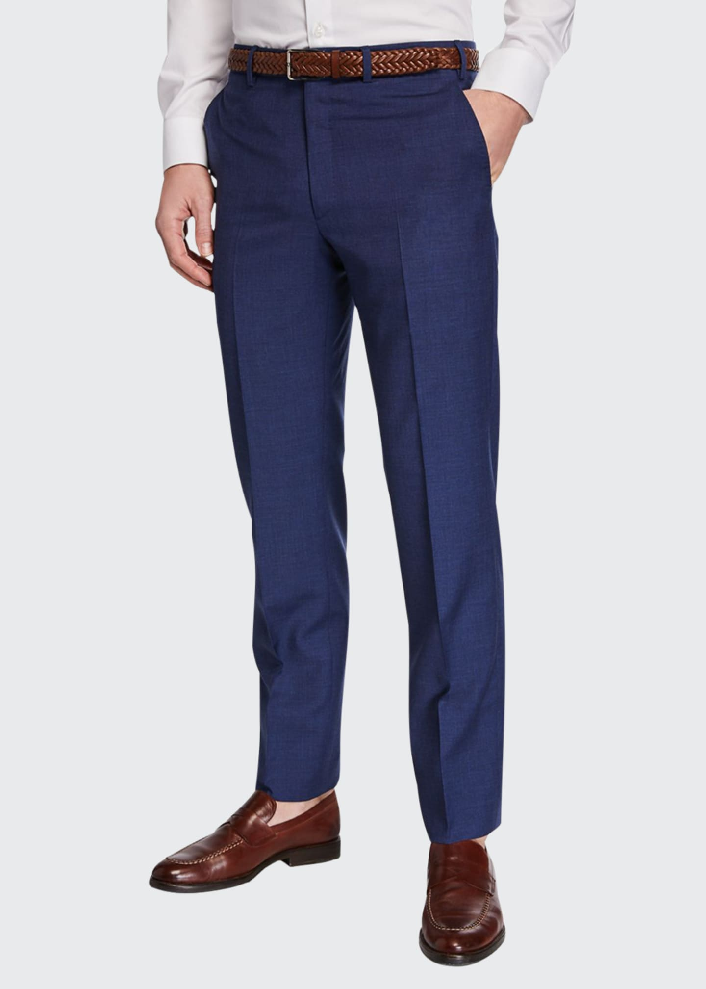 Image 1 of 3: Men's Flat-Front Wool Trousers