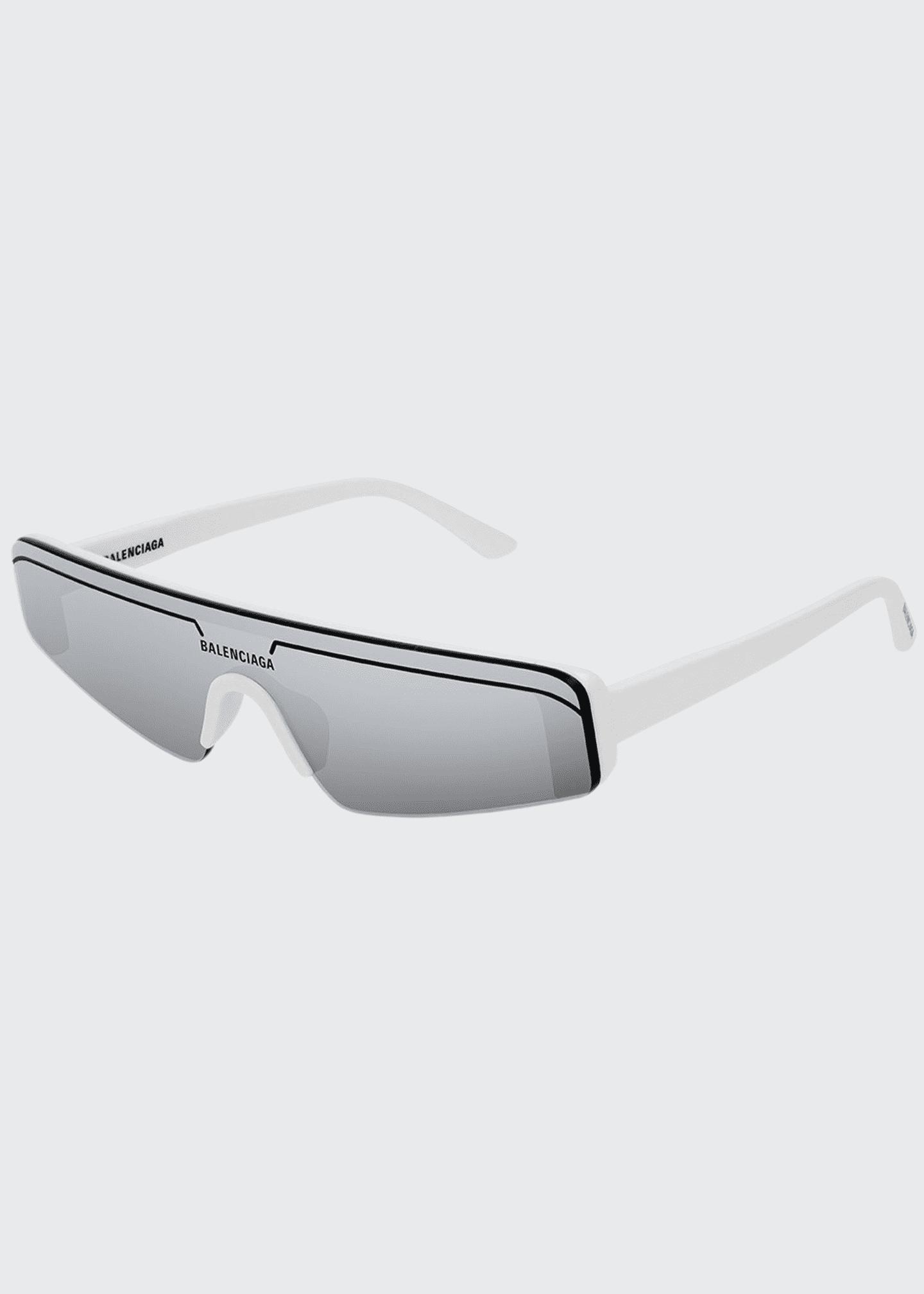 Balenciaga Men's Ski-Style Mirrored Sunglasses