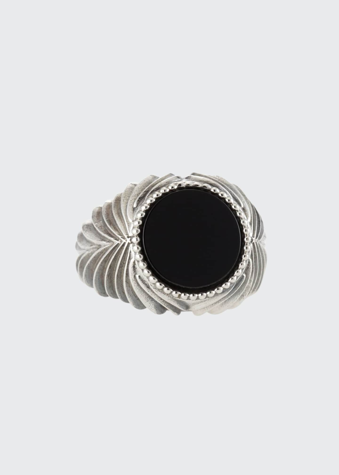 Image 1 of 2: Men's Feathered Black Onyx Ring