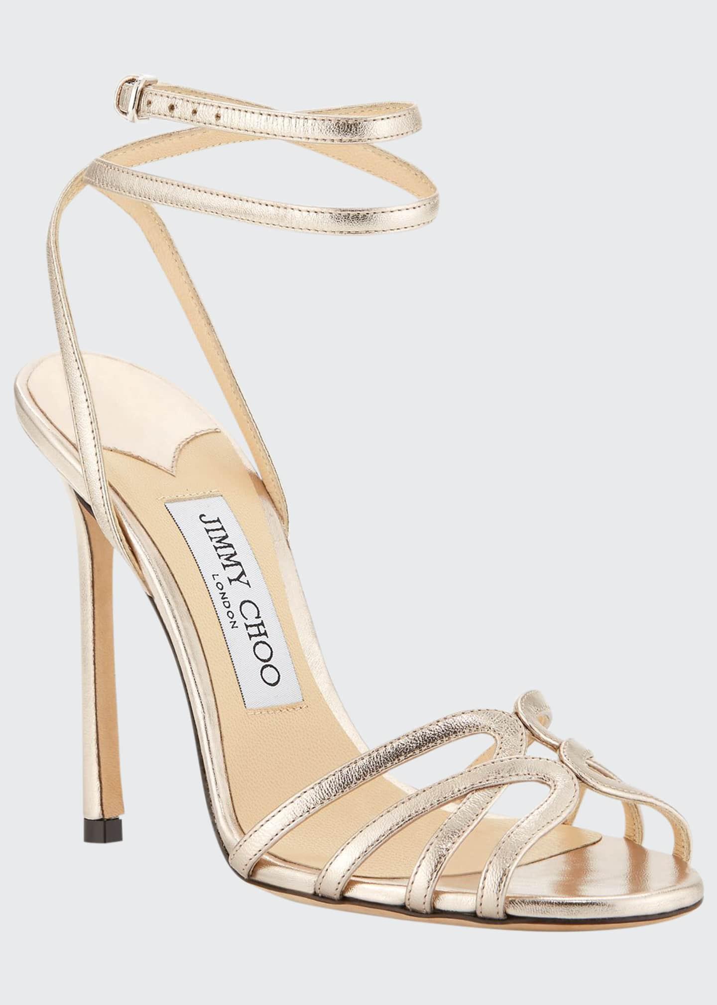 Jimmy Choo Mimi Metallic Leather Sandals