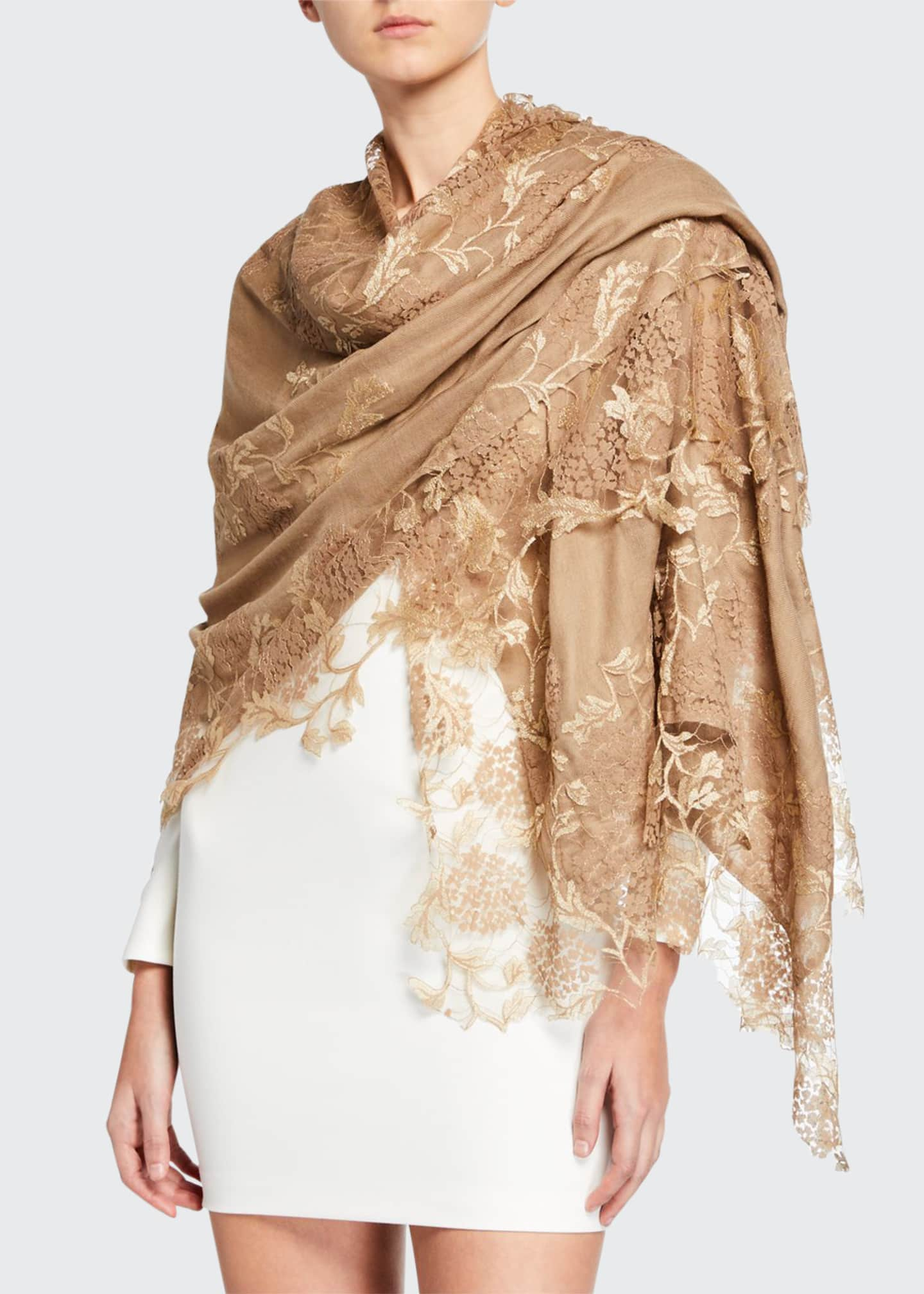 Image 1 of 2: Lace Embroidery Stole
