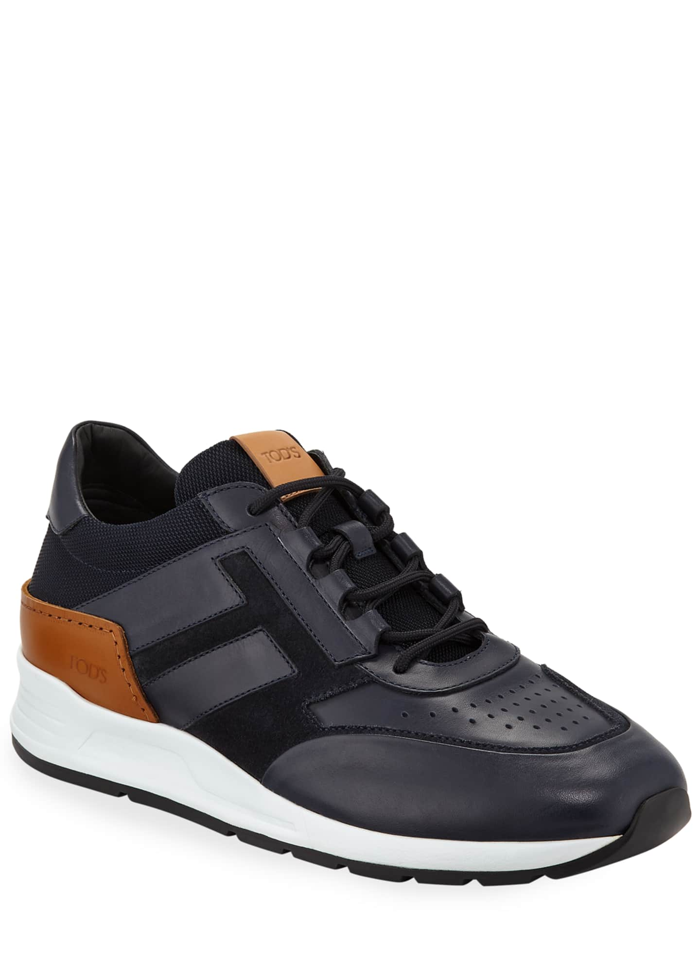 Image 1 of 3: Men's 56-B Mesh & Leather Trainer Sneakers, Navy