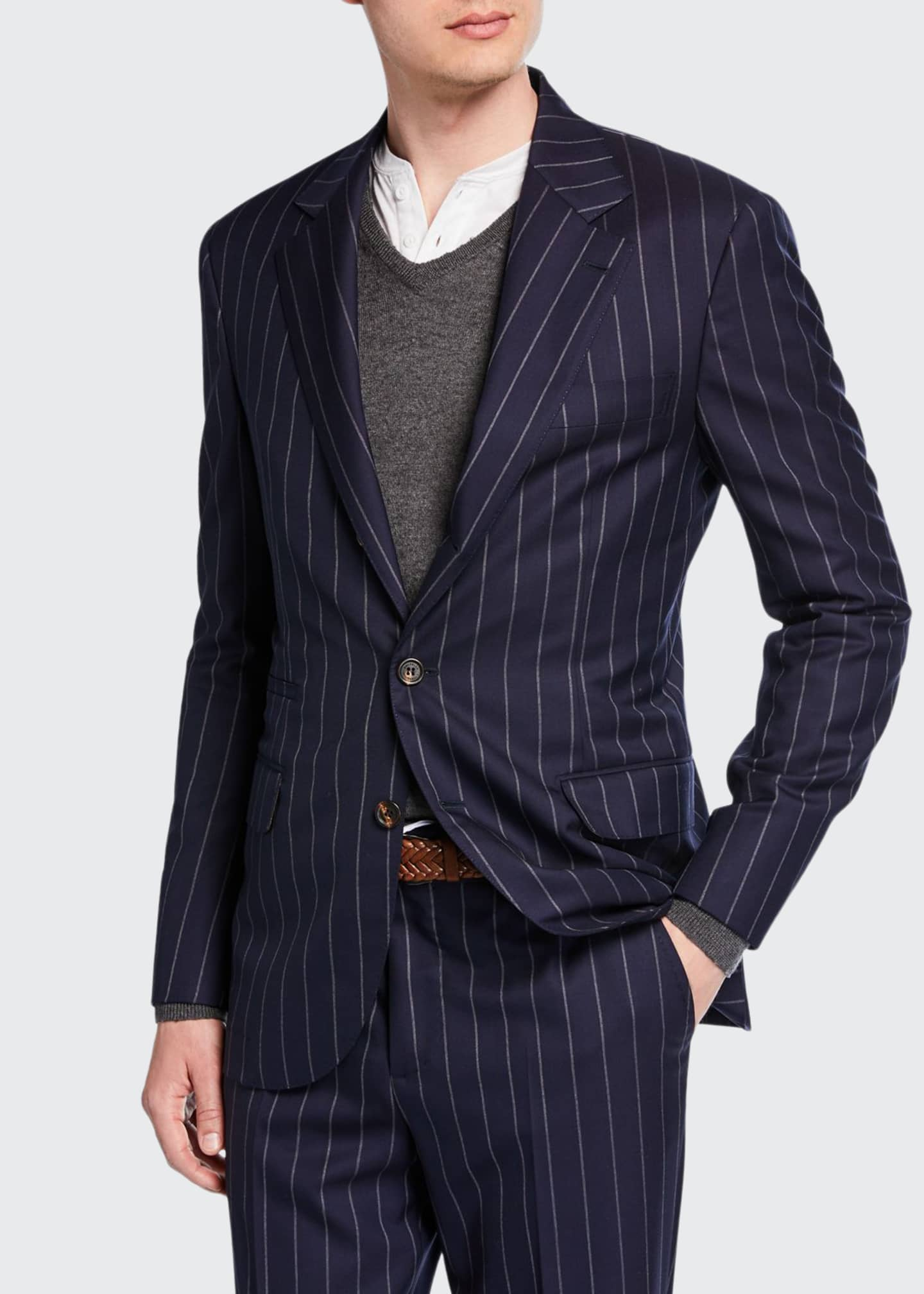 Image 1 of 4: Men's Wide Pinstriped Two-Piece Suit
