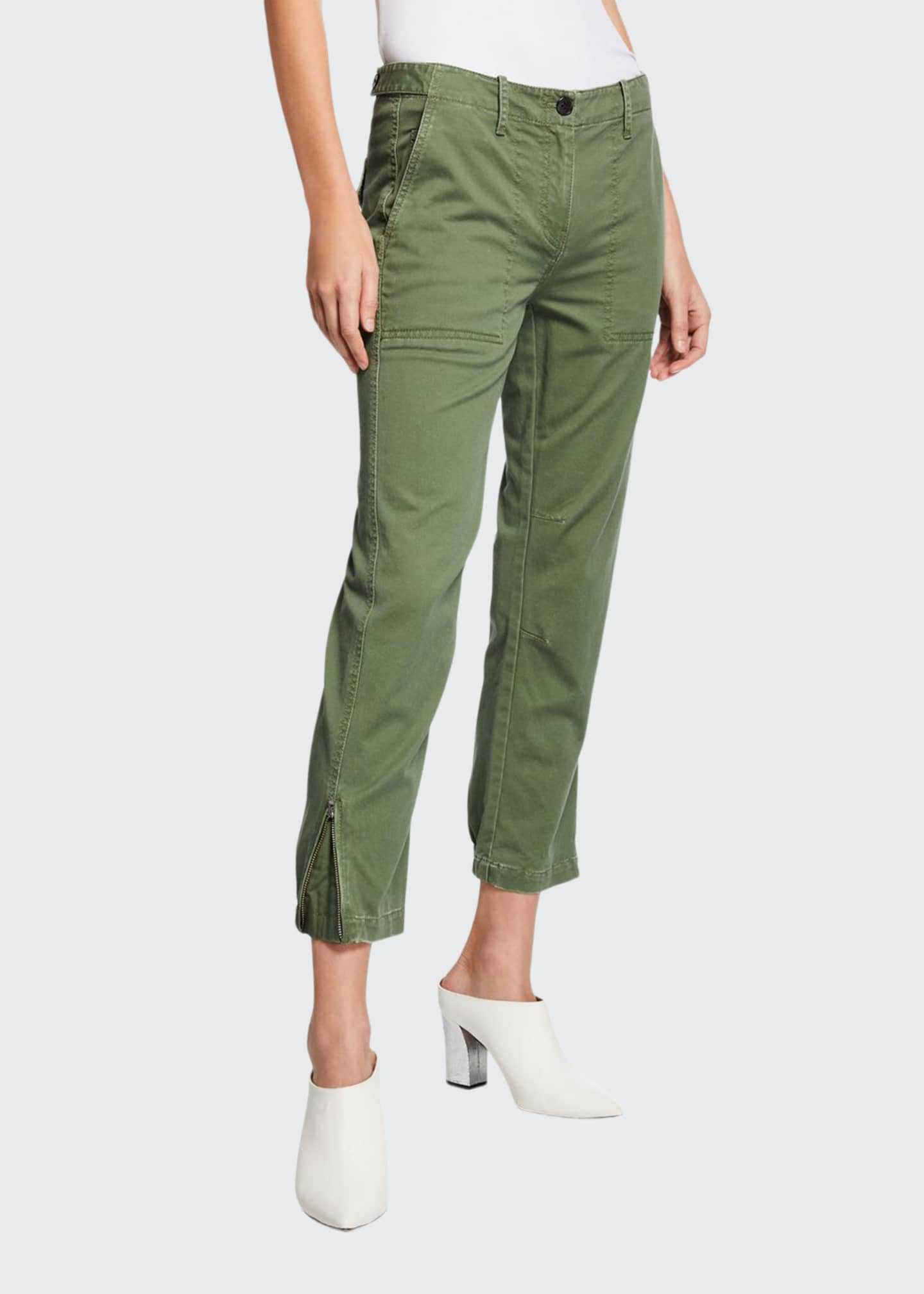 Image 1 of 3: Cropped Utility Pants w/ Elastic Cuffs