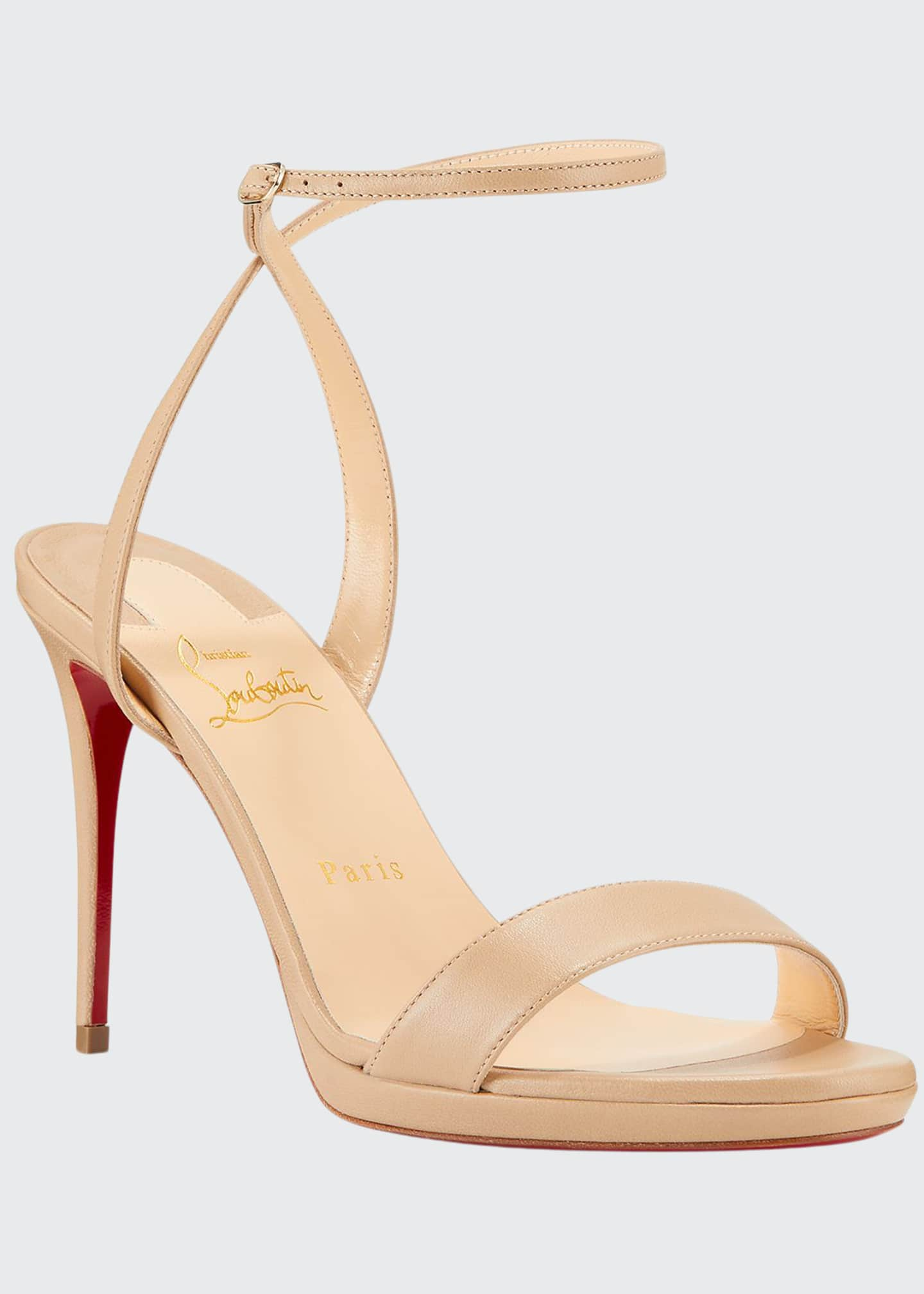 Image 1 of 3: Loubi Queen Red Sole Ankle-Wrap Sandals