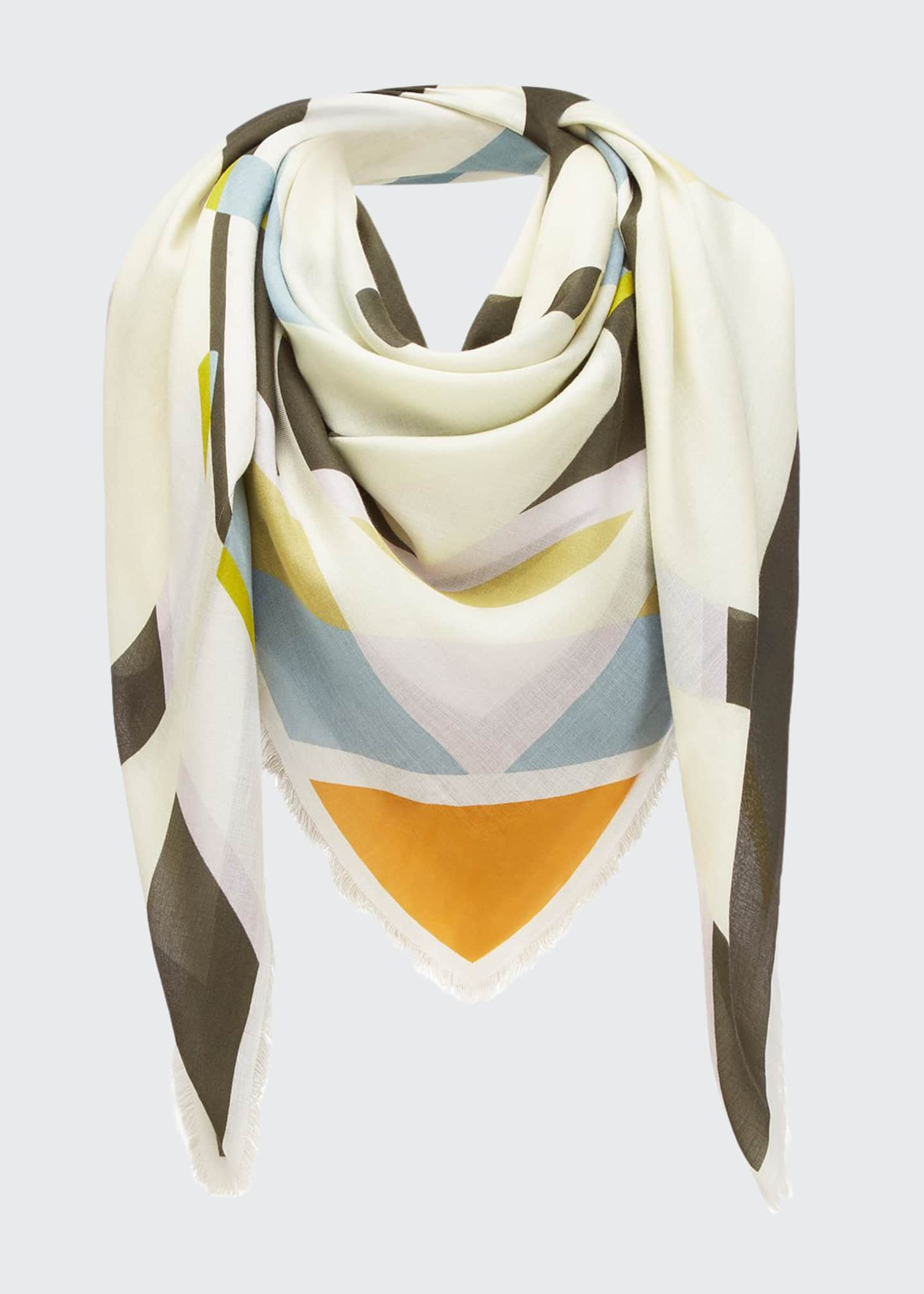 Image 1 of 3: Striped Anagram-Print Fringe Scarf