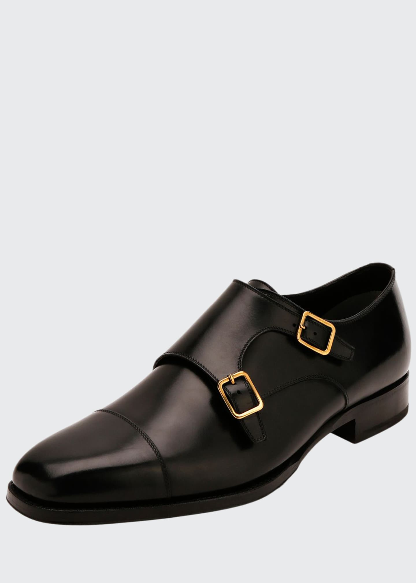 Image 1 of 3: Men's Double-Monk Strap Leather Loafers