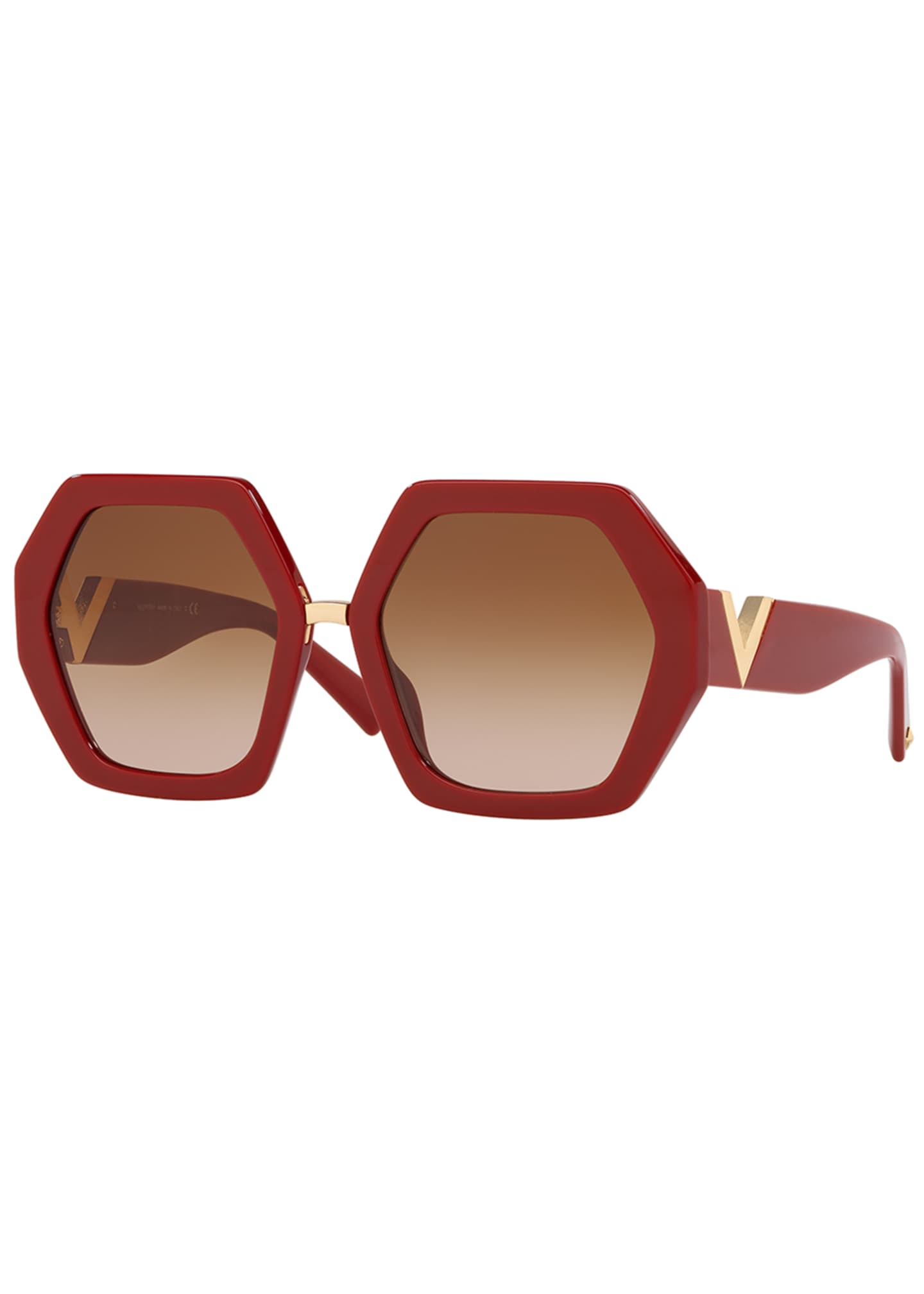 Image 1 of 2: Octagonal Acetate V-Inset Sunglasses