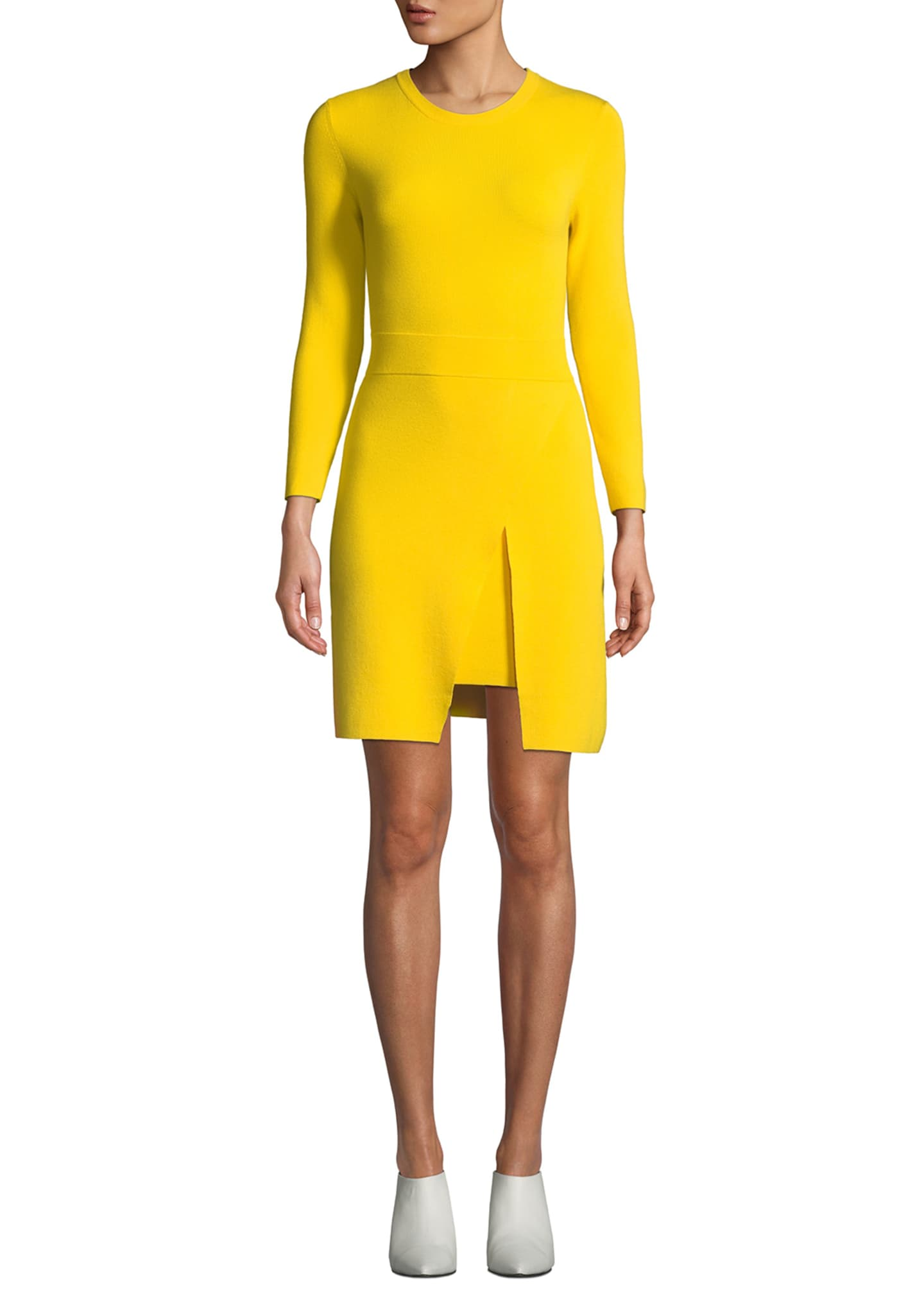 Image 1 of 2: Hadley Long-Sleeve Dress w/ Slit Skirt Overlay